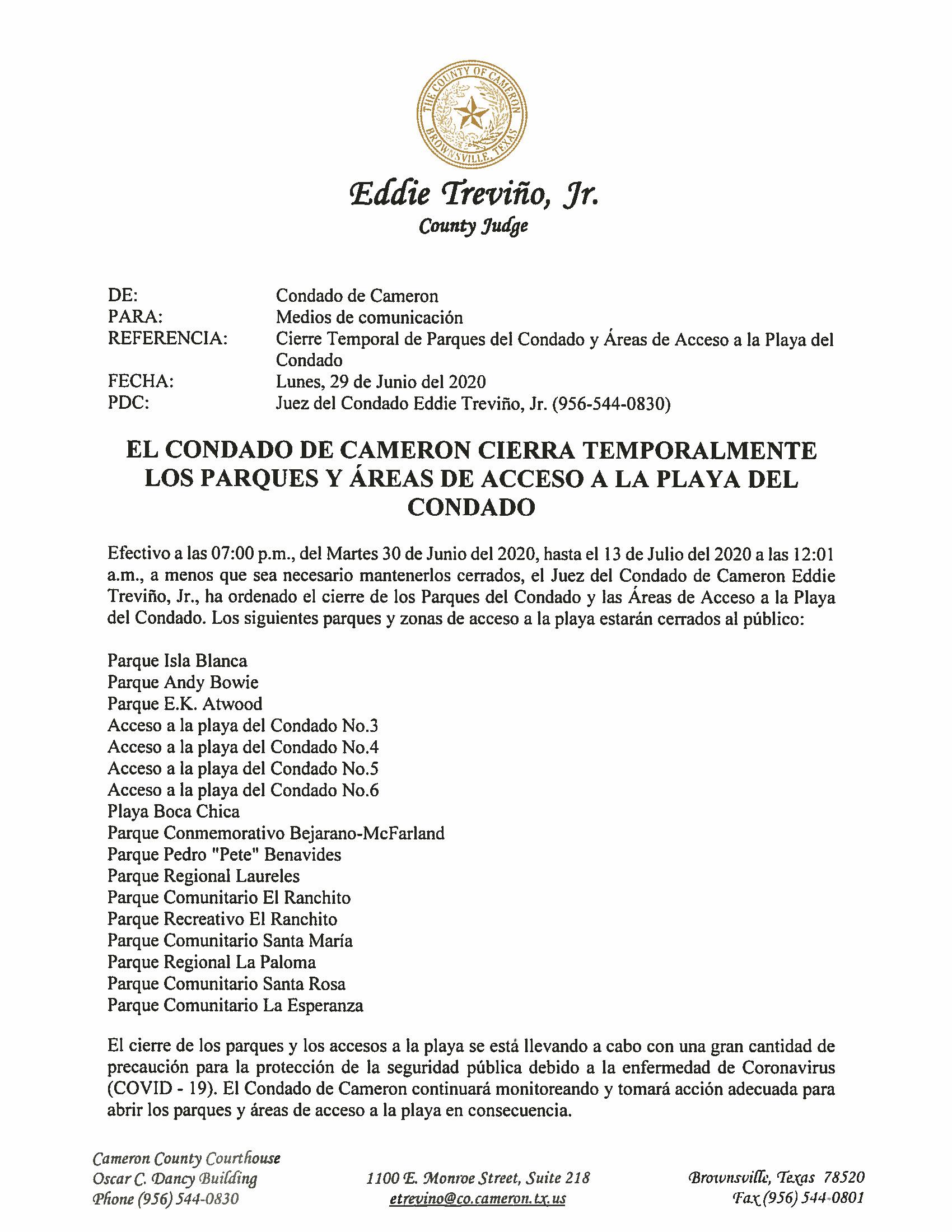 06.29.2020 El Condado De Cameron Cierra Temporalmente Los Parques Y Areas De Acceso A La Playa Del Condado Page 1