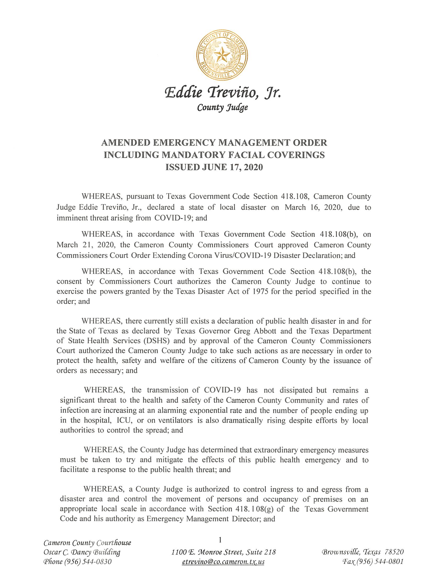 2020.06.17 Amended Emergency Management Order Including Mandatory Facial Coverings Page 1