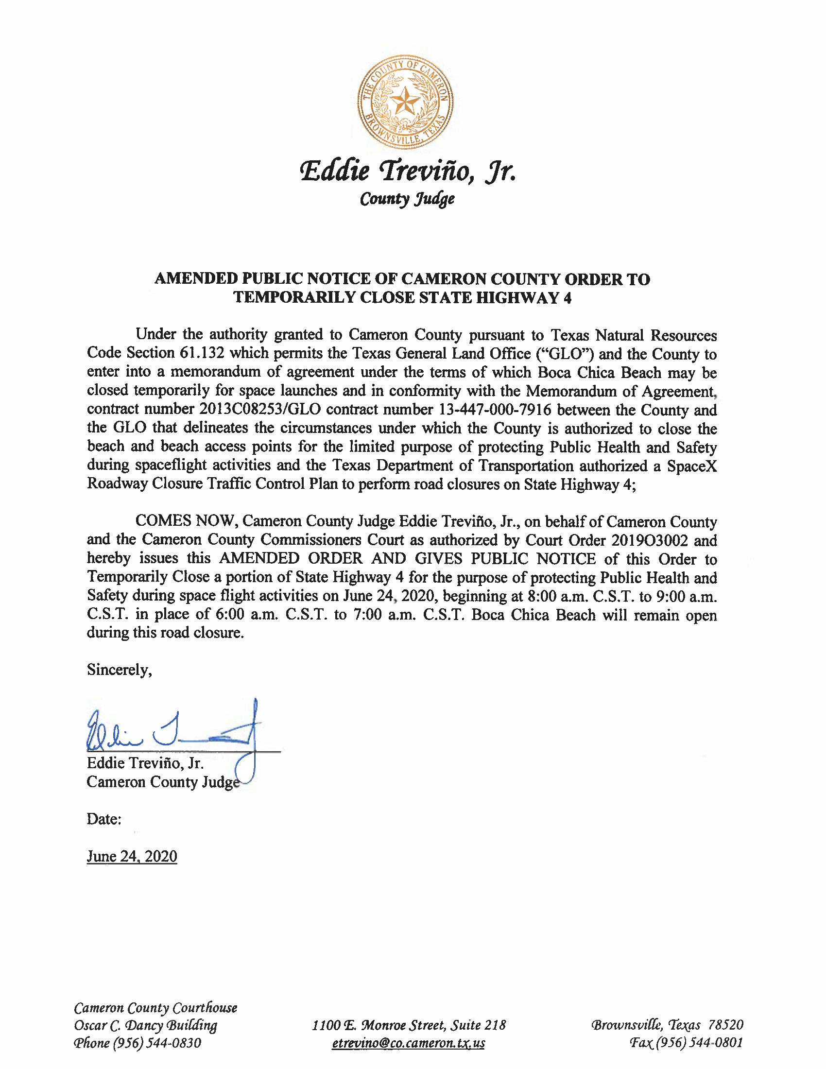 AMENDED PUBLIC NOTICE OF CAMERON COUNTY ORDER TO TEMP. ROAD CLOSURE. 06.24.20