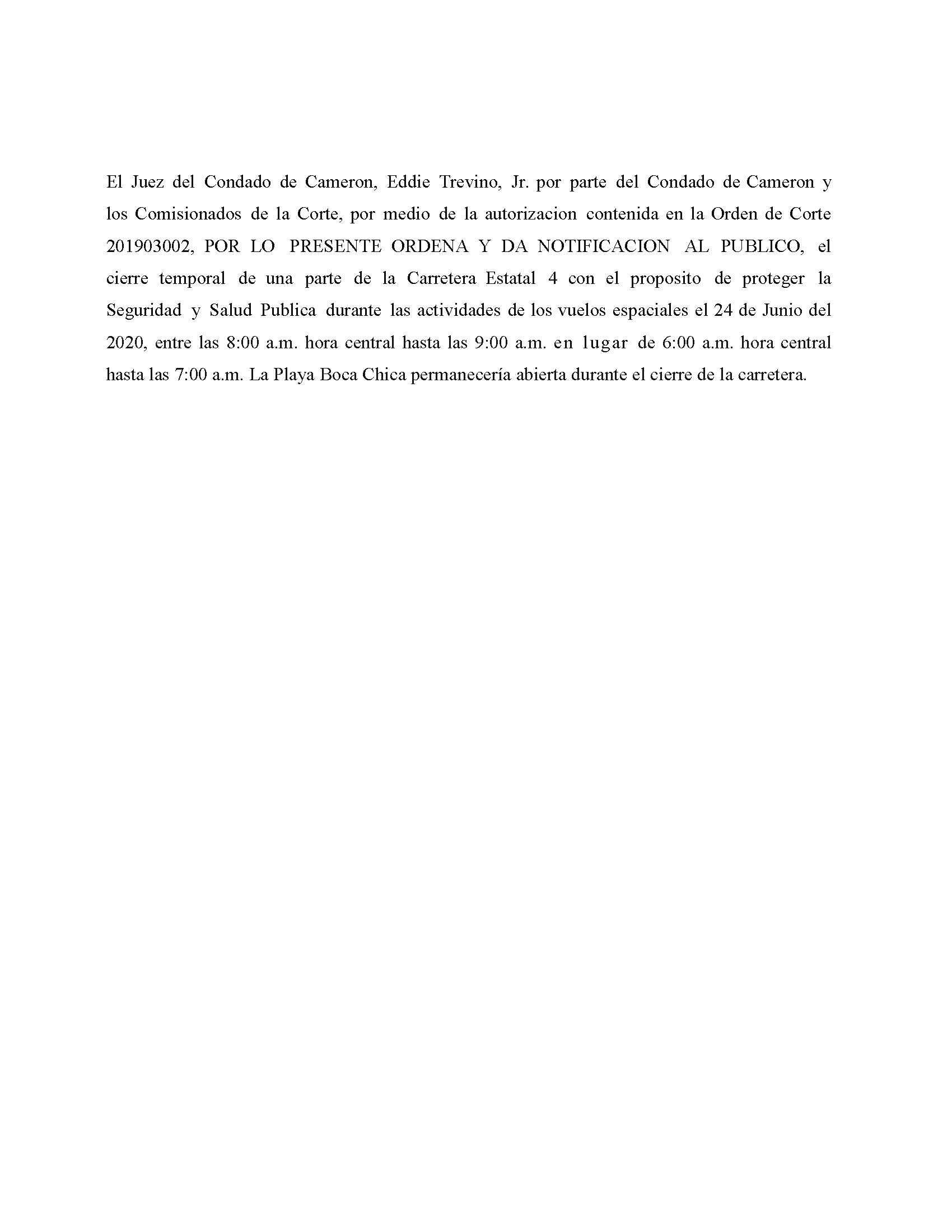 Amended Order In Spanish 06.24.2020.State Hwy 4 Closure Only