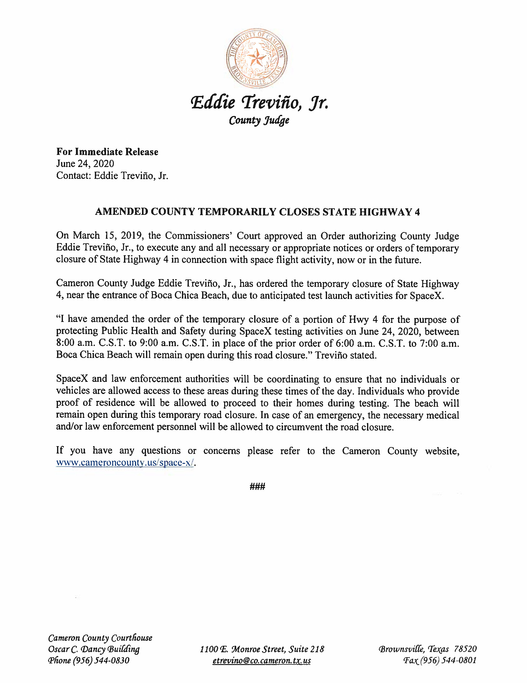 Amended Press Release In English And Spanish.06.24.20 Page 1