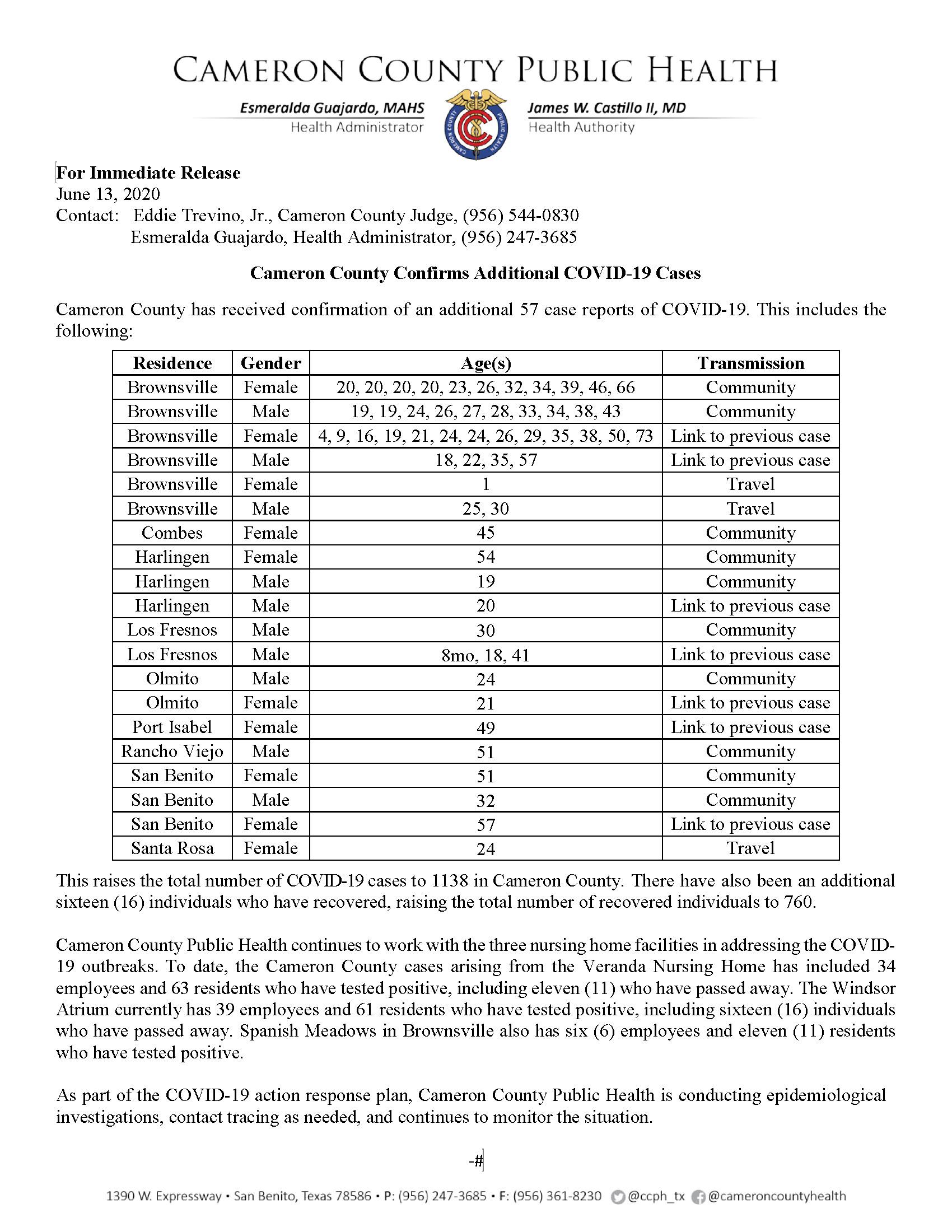 COVID 19 Press Release 1082 1138 PR72 6 13 2020