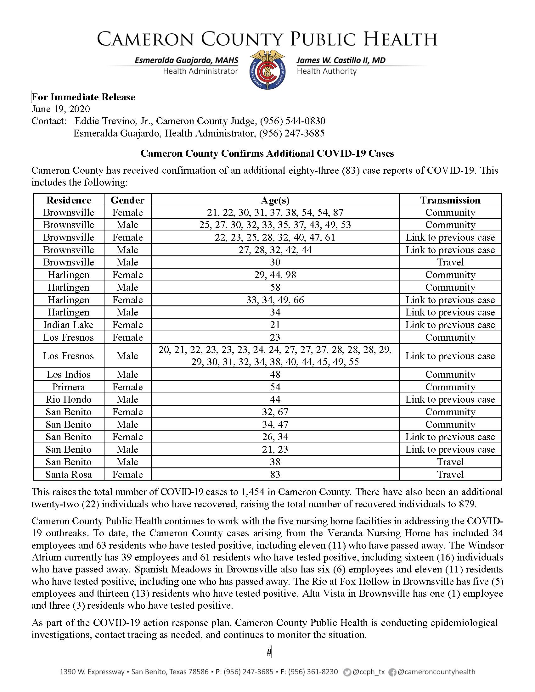 COVID 19 Press Release 1372 1454 PR77 06 19 2020