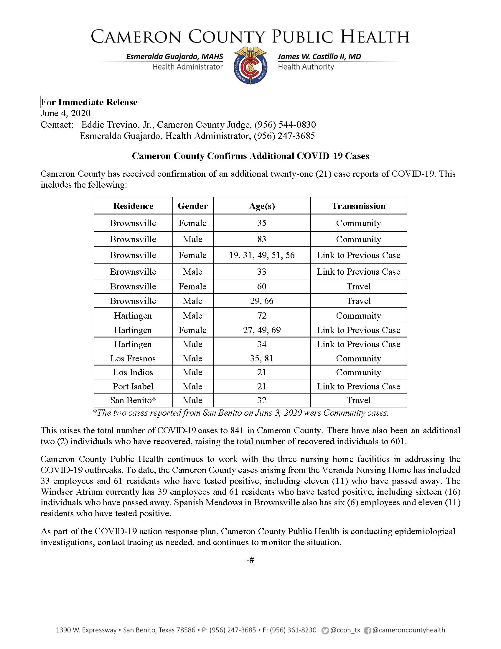 COVID 19 Press Release 821 841 PR64 6 04 2020