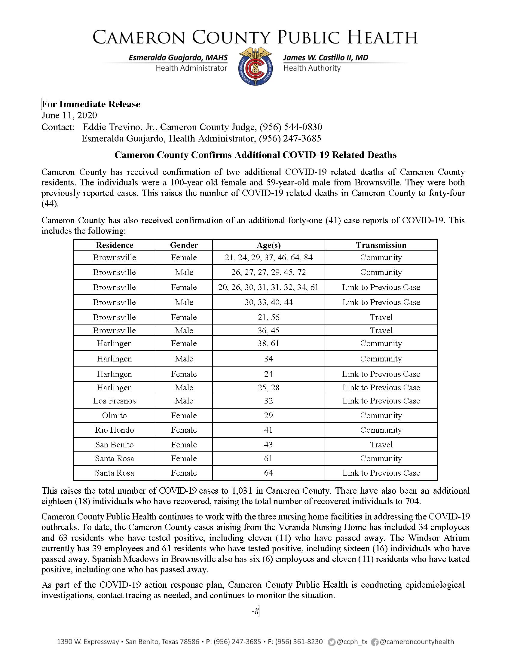 COVID 19 Press Release 991 1031 PR70 6 10 2020