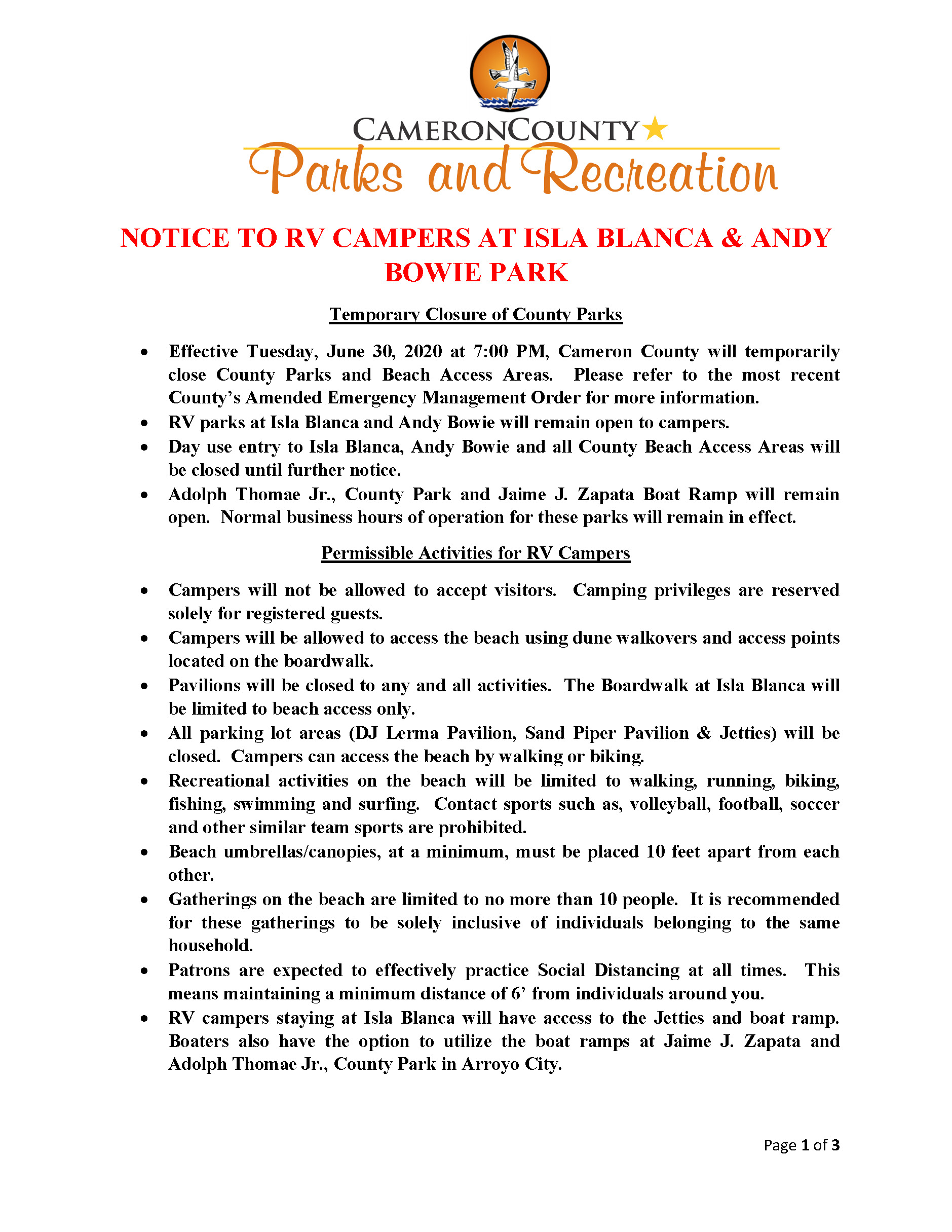 Notice To RV Guest IBP Andy Bowie Park Draft 6 30 20 Page 1
