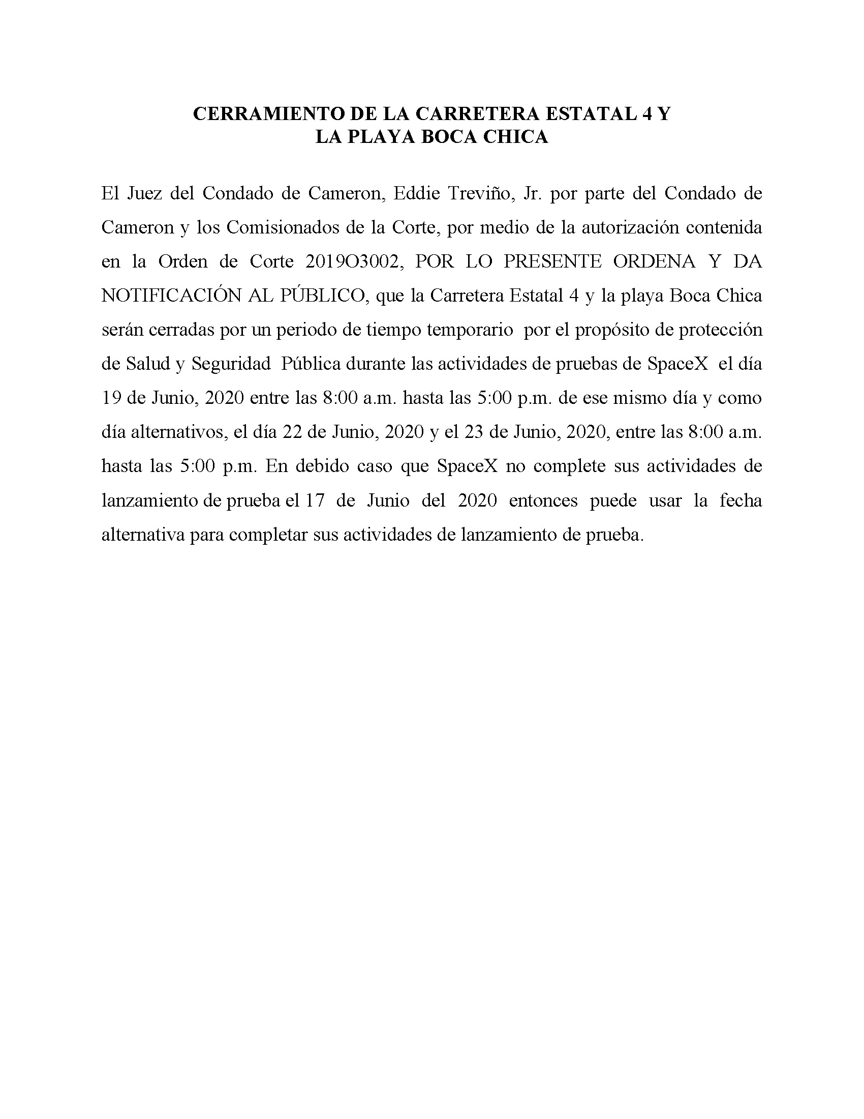 ORDER.CLOSURE OF HIGHWAY 4 Y LA PLAYA BOCA CHICA.SPANISH.06.19.20