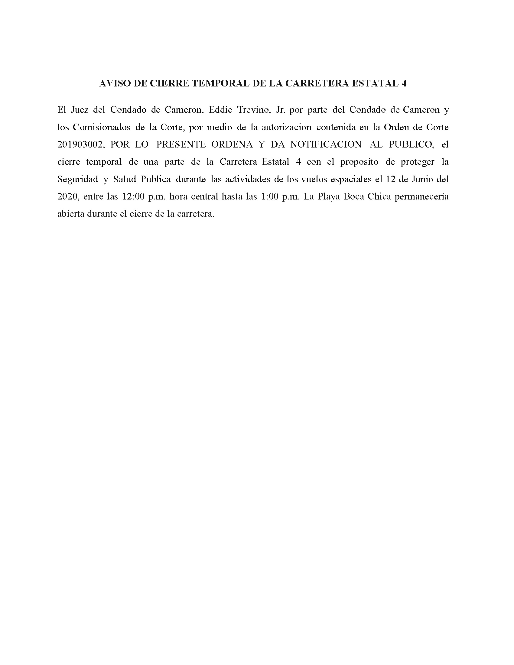 Order In Spanish 06.12.2020.State Hwy 4 Closure Only