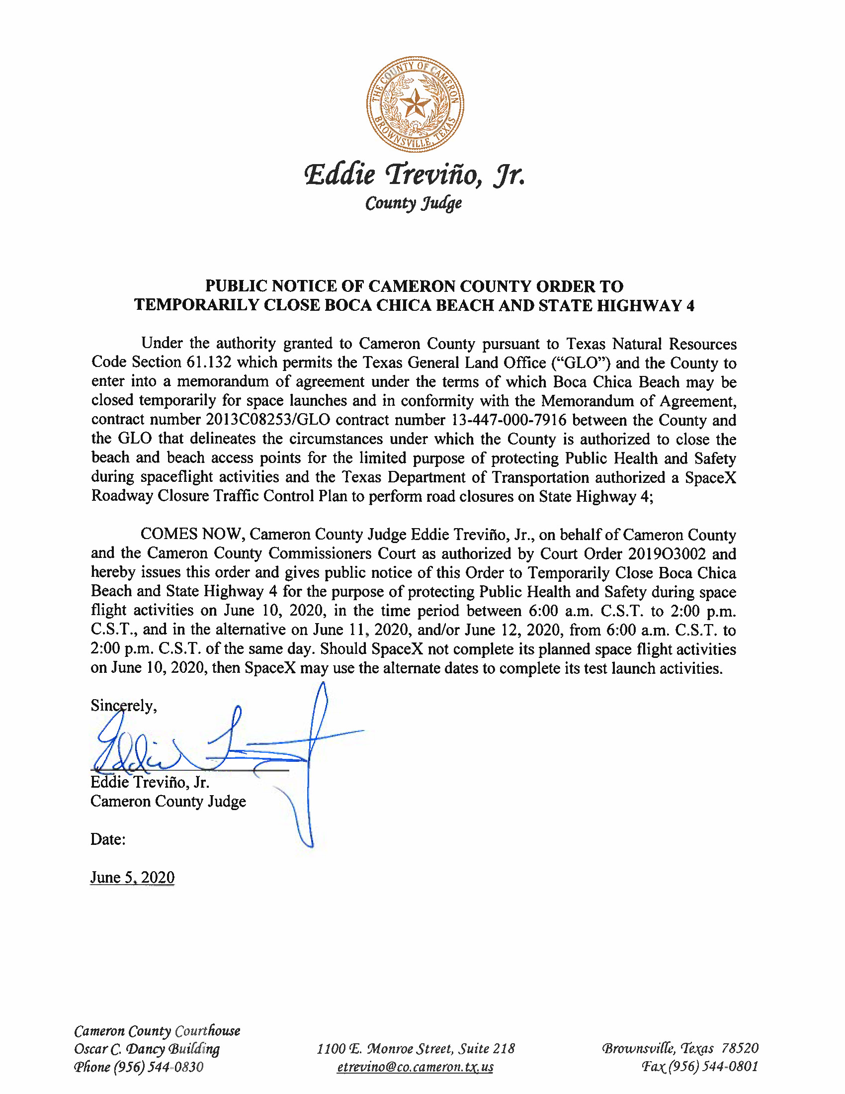 PUBLIC NOTICE OF CAMERON COUNTY ORDER TO TEMP. BEACH CLOSURE AND HWY.06.10.20 Page 1