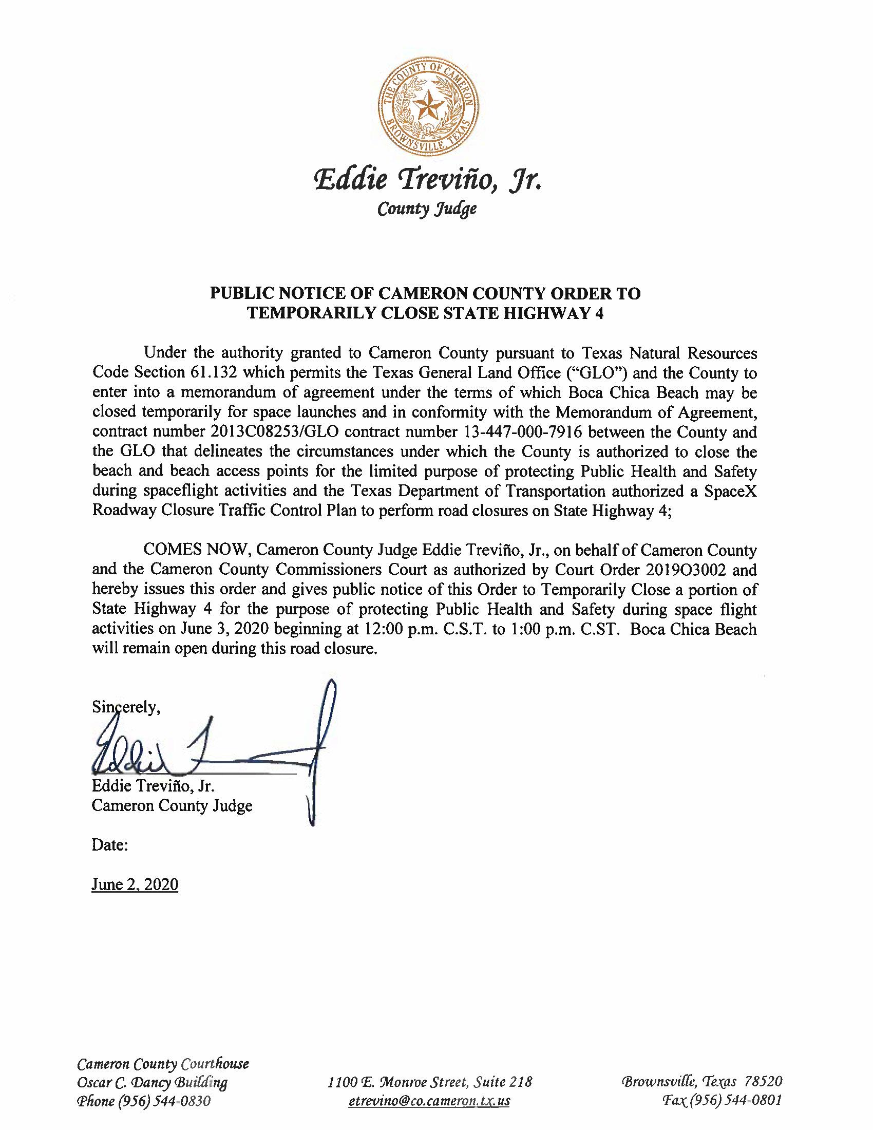 PUBLIC NOTICE OF CAMERON COUNTY ORDER TO TEMP. ROAD CLOSURE. 06.03.20
