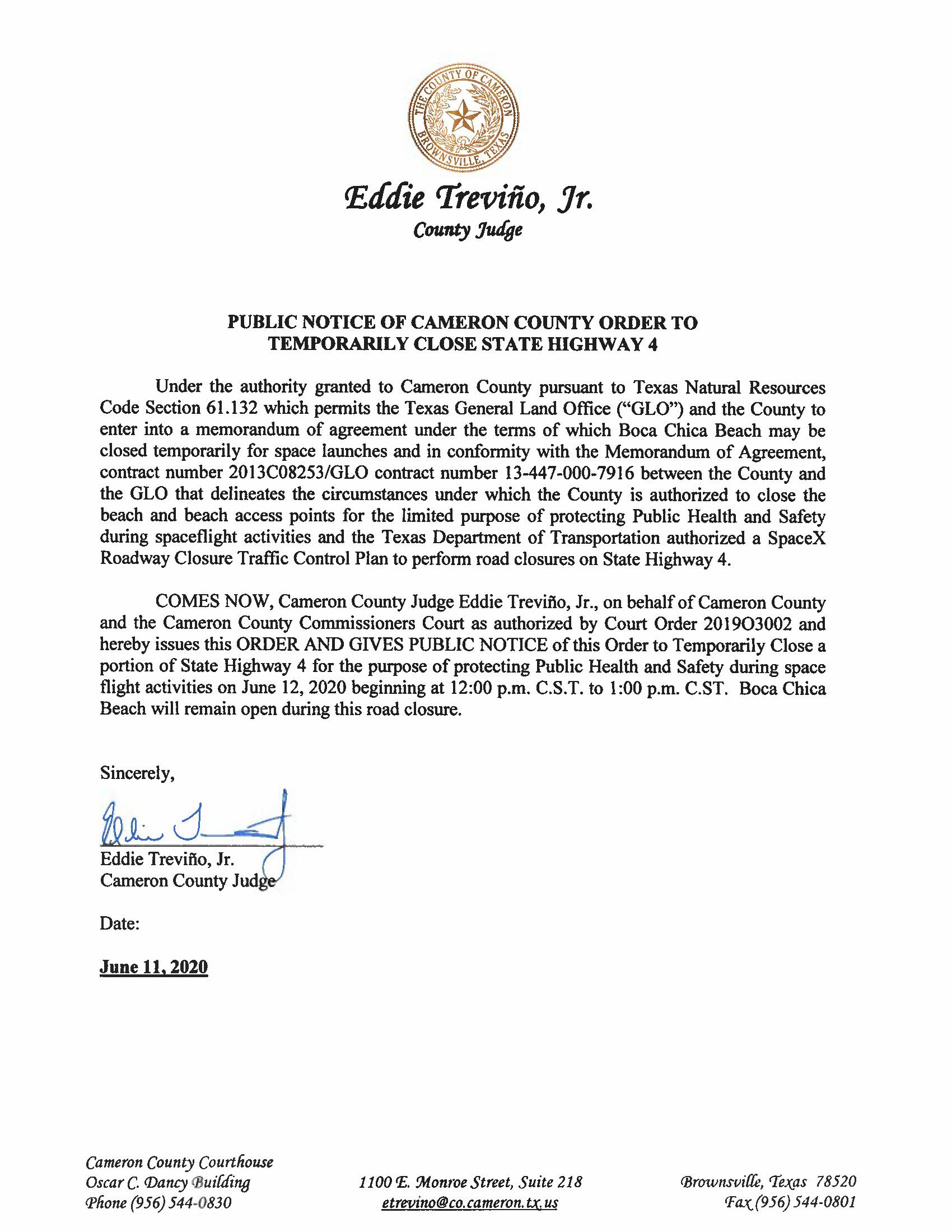PUBLIC NOTICE OF CAMERON COUNTY ORDER TO TEMP. ROAD CLOSURE. 06.12.20