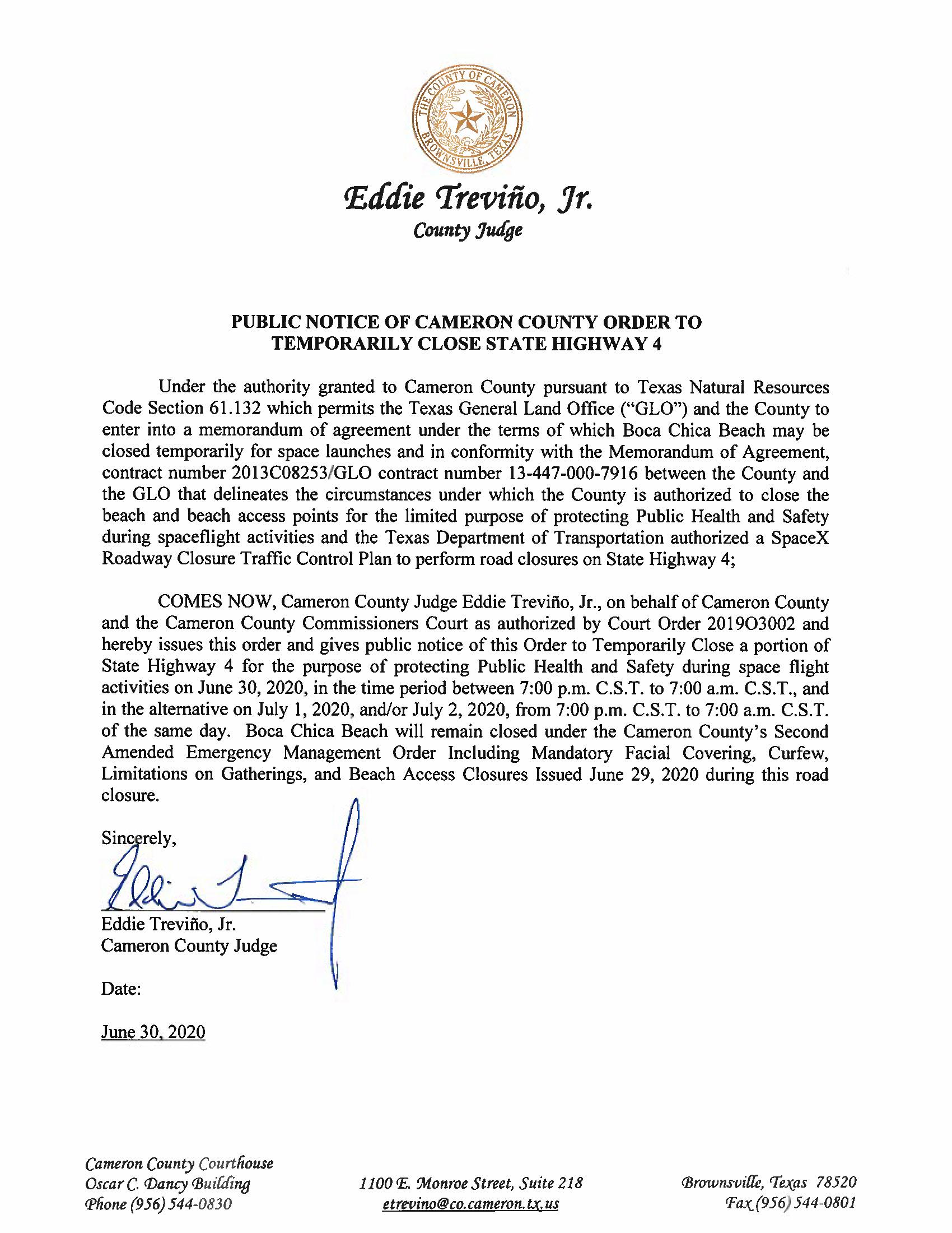 PUBLIC NOTICE OF CAMERON COUNTY ORDER TO TEMP. ROAD CLOSURE. 06.30.20 Page 1