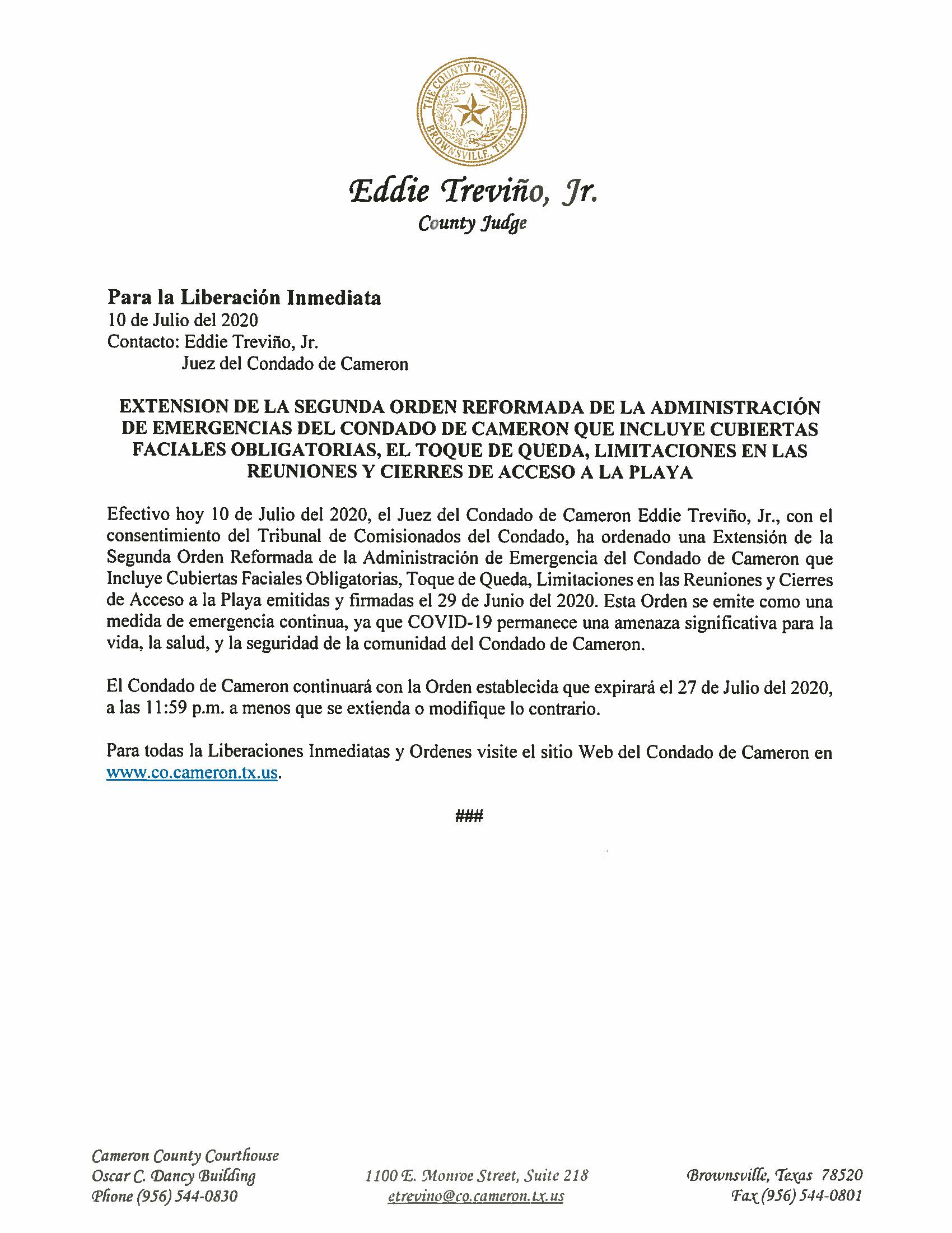 07.10.2020 Extension De La Segunda Orden Reformada De La Administracion De Emergencias Del Condado De Cameron Que Incluye Cubiertas Faciales Obligatorias El Toqu