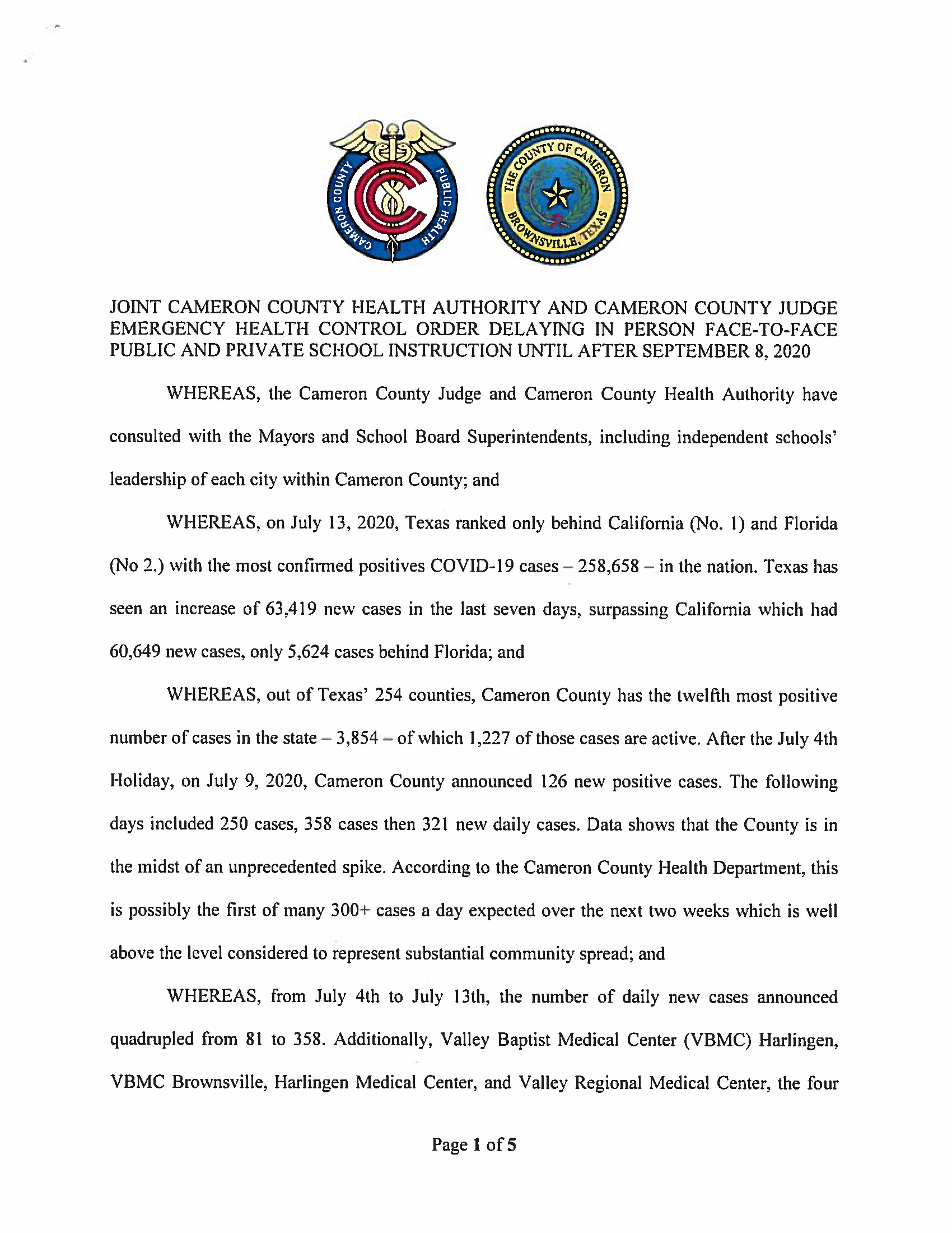 07.14.2020 Joint Cameron County Health Authority And Cameron County Judge Emergency