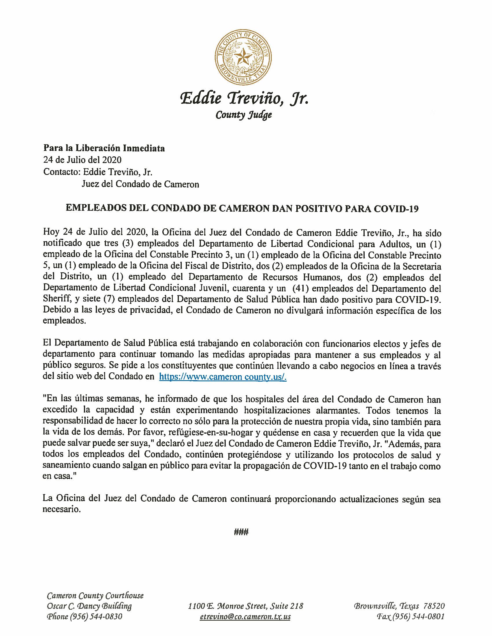 07.24.2020 Empleados Del Condado De Cameron Dan Positivo Para COVID 19