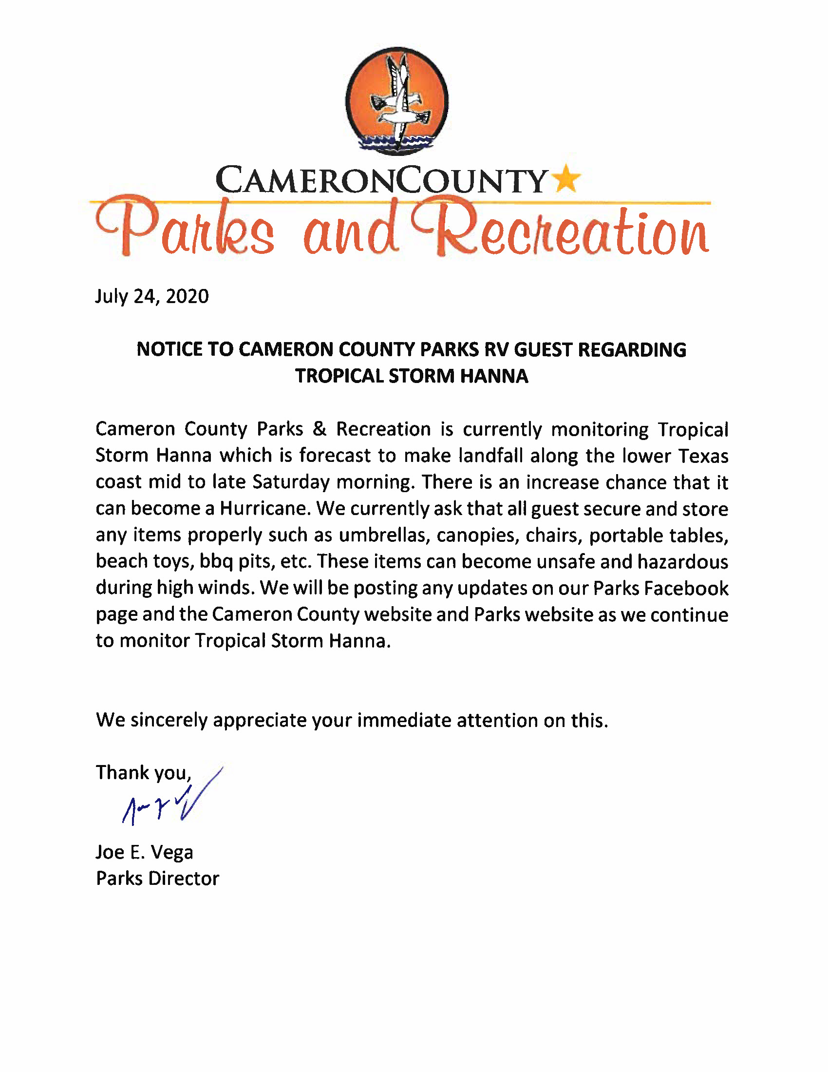 ADVISORY TO ALL CAMERON COUNTY RV PARK GUESTS Tropical Storm Hanna 7 24 20