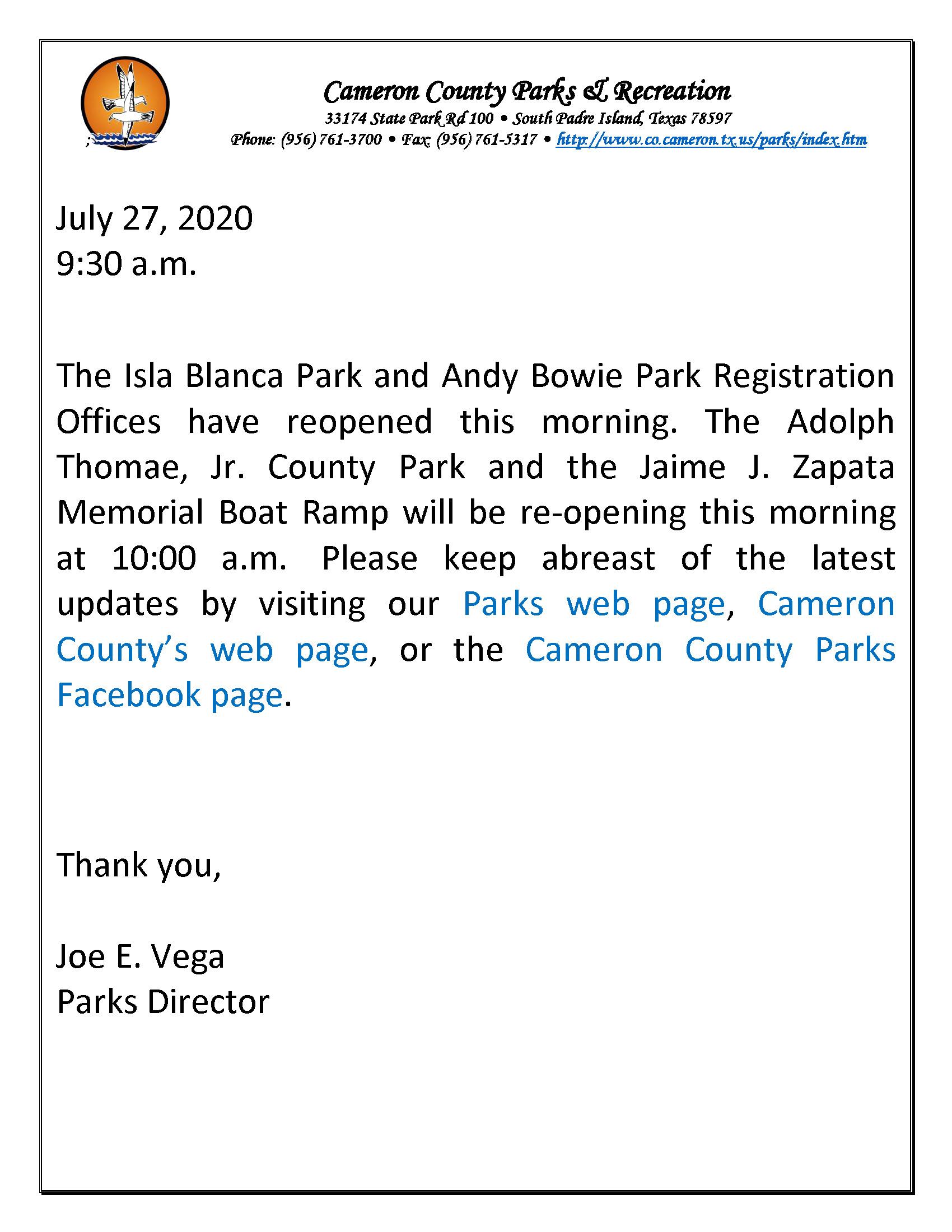 ADVISORY Reopening ATP JJZMBR  Parks Offices 7 27 20