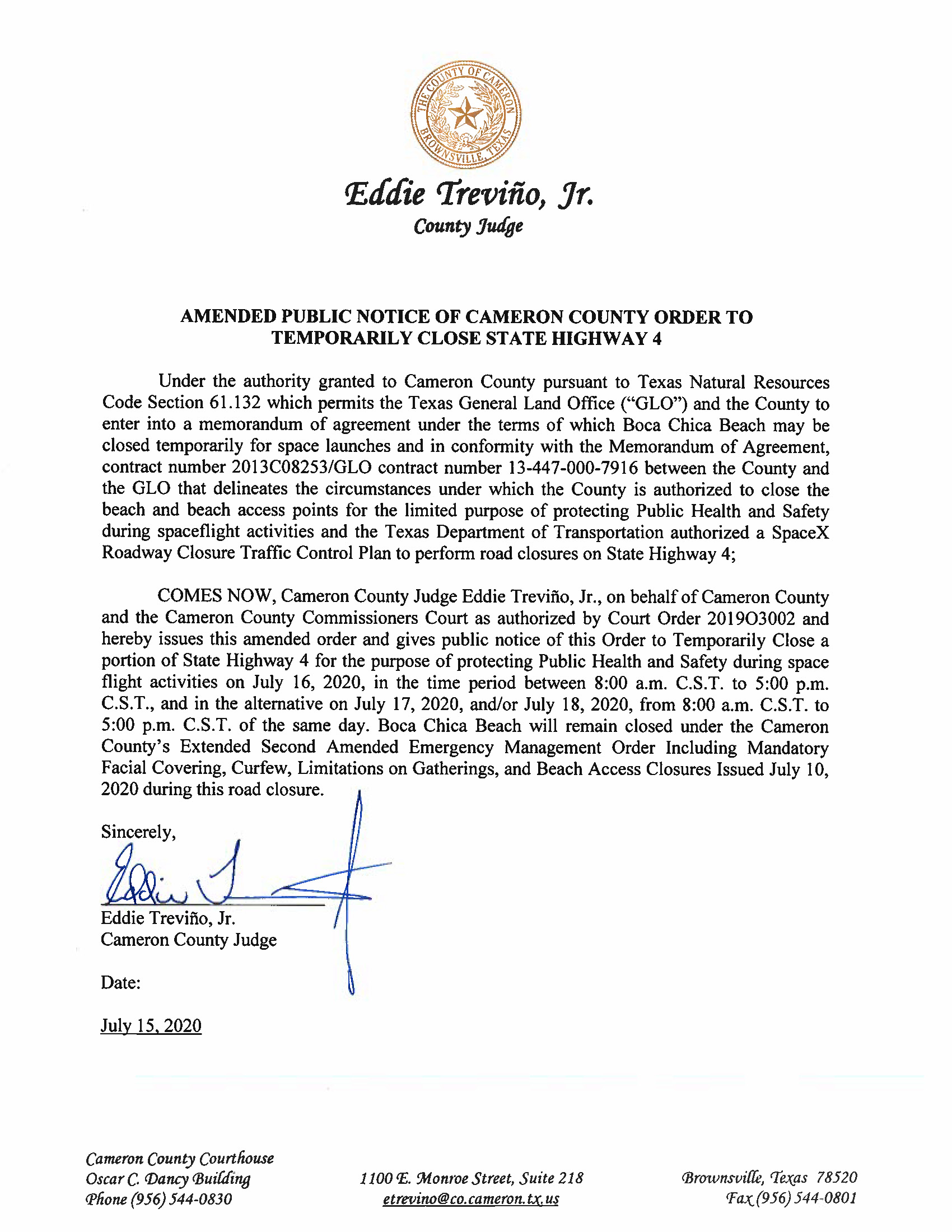 AMENDED PUBLIC NOTICE OF CAMERON COUNTY ORDER TO TEMP. ROAD CLOSURE. 07.16.20.docx Page 1