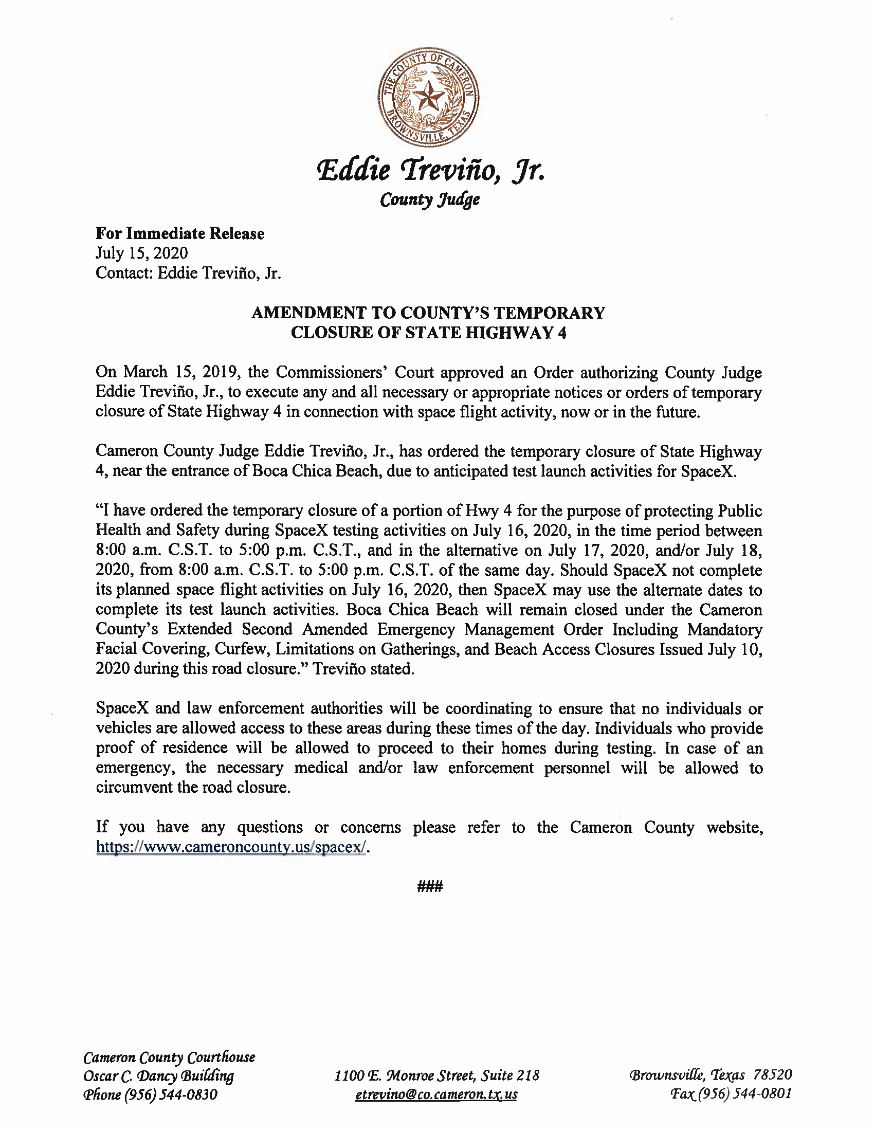 Amended Press Release On Order Of Closure Related To SpaceX Flight.ROAD CLOSURE English Spanish. 07.16.2020.doc Page 1