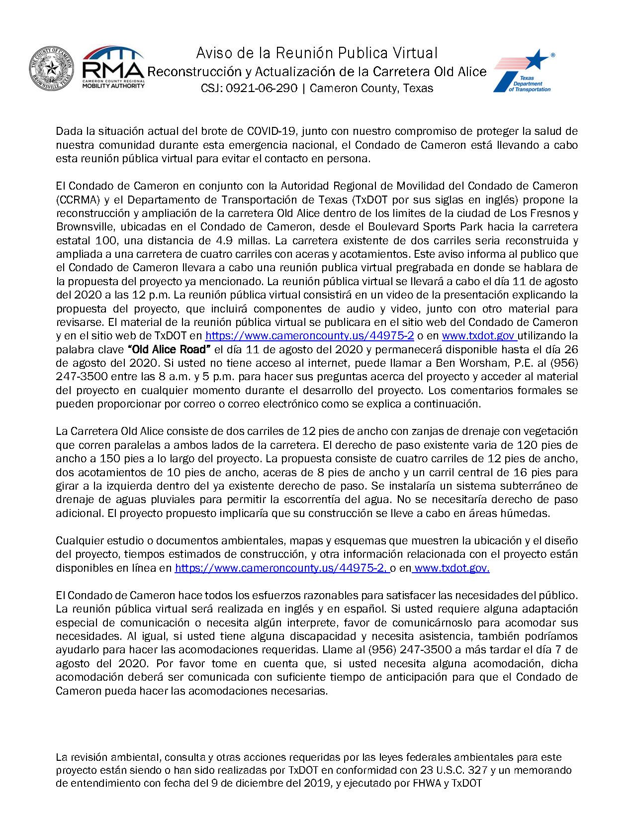 Aviso De Reunión Pública Virtual Page 1