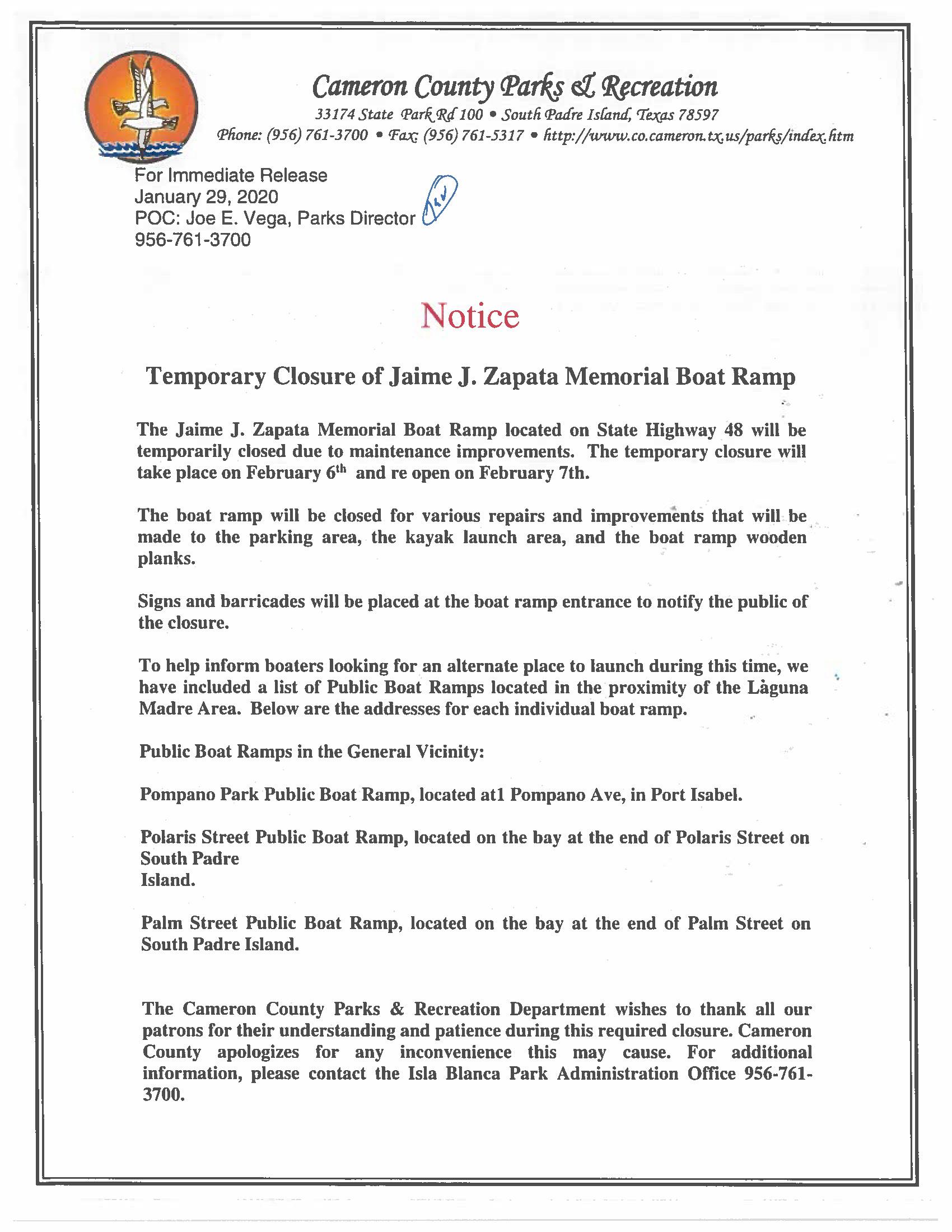 Notice Of Temporary Closure Of Jaime J Zapata Memorial Boat Ramp Press Release 1 29 20