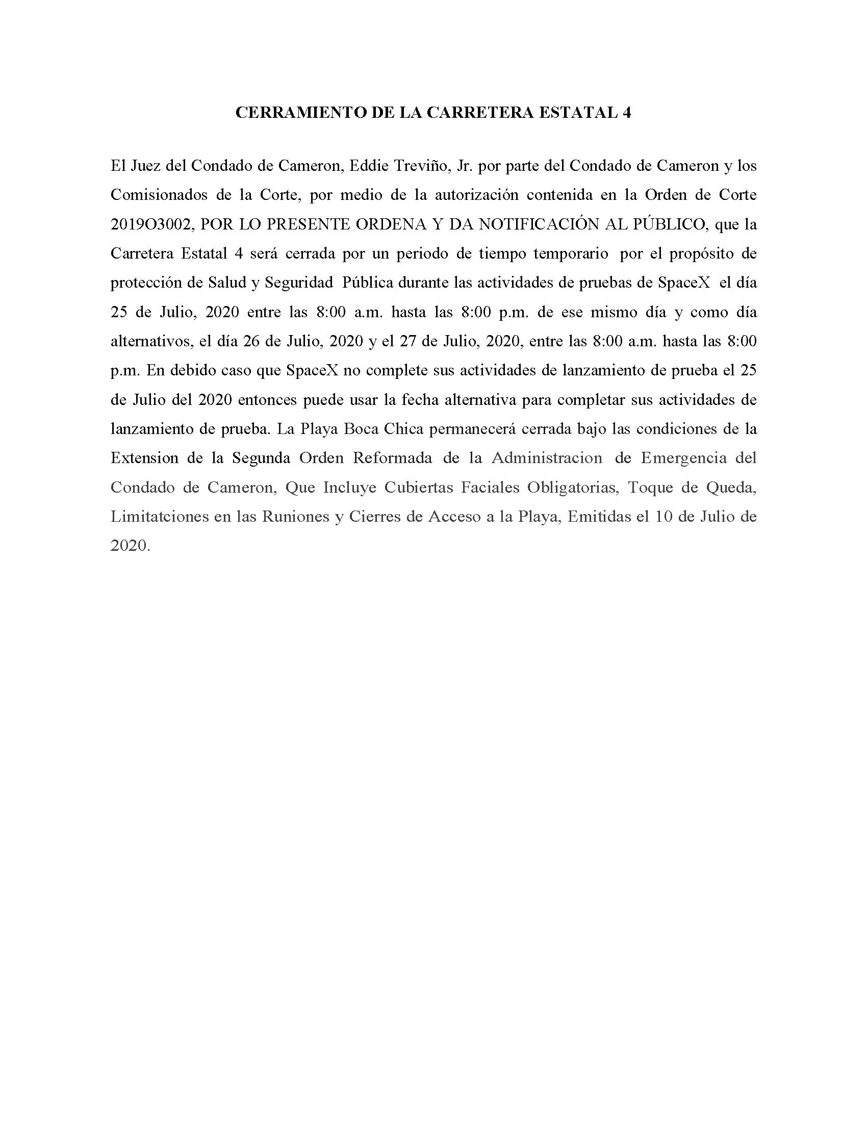 ORDER.CLOSURE OF HIGHWAY 4.SPANISH.07.25.20