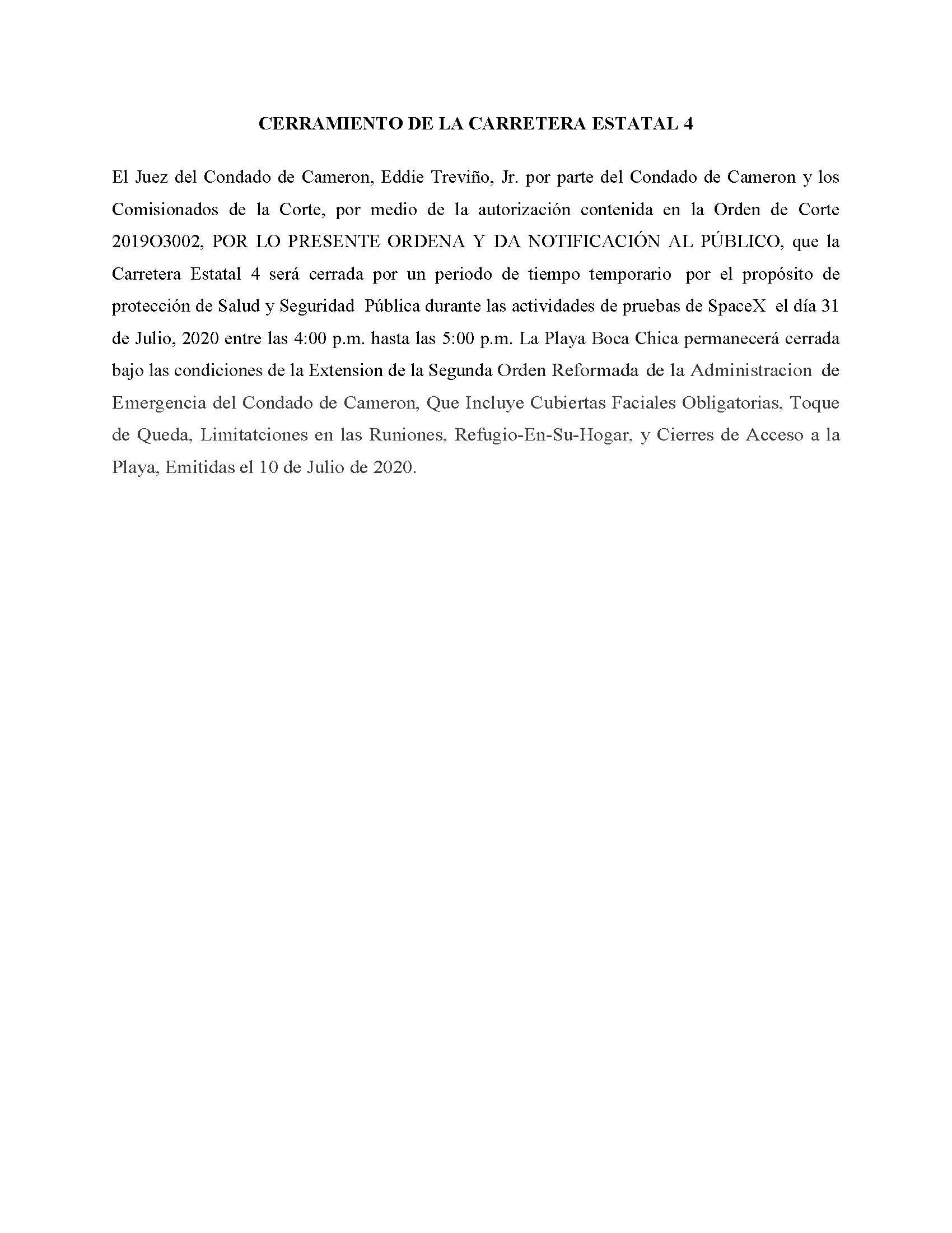 ORDER.CLOSURE OF HIGHWAY 4.SPANISH.07.31.20 1