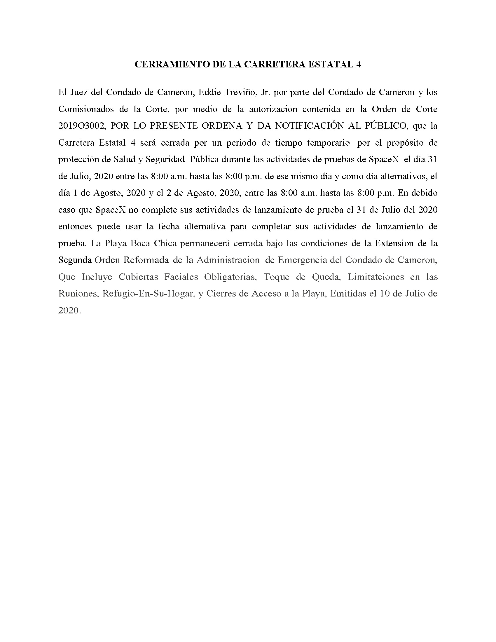 ORDER.CLOSURE OF HIGHWAY 4.SPANISH.07.31.20