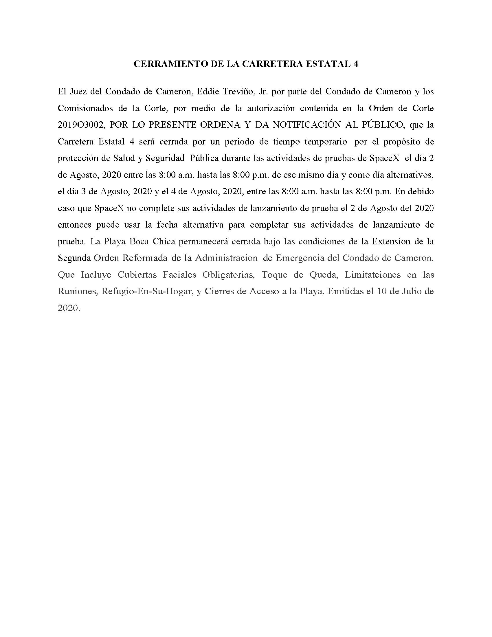 ORDER.CLOSURE OF HIGHWAY 4.SPANISH.08.02.20