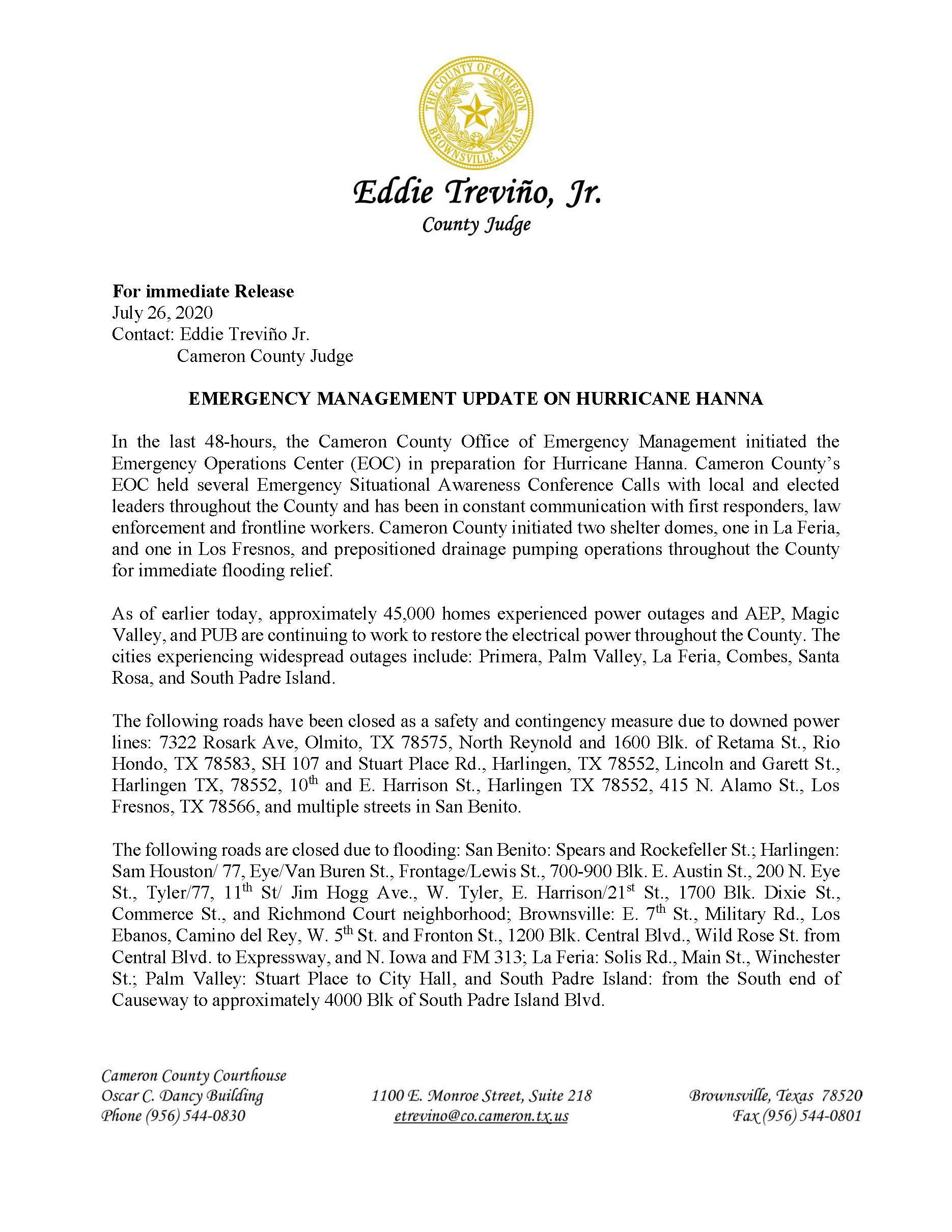 PR EM Updates On Hurricane Hanna PDF Page 1