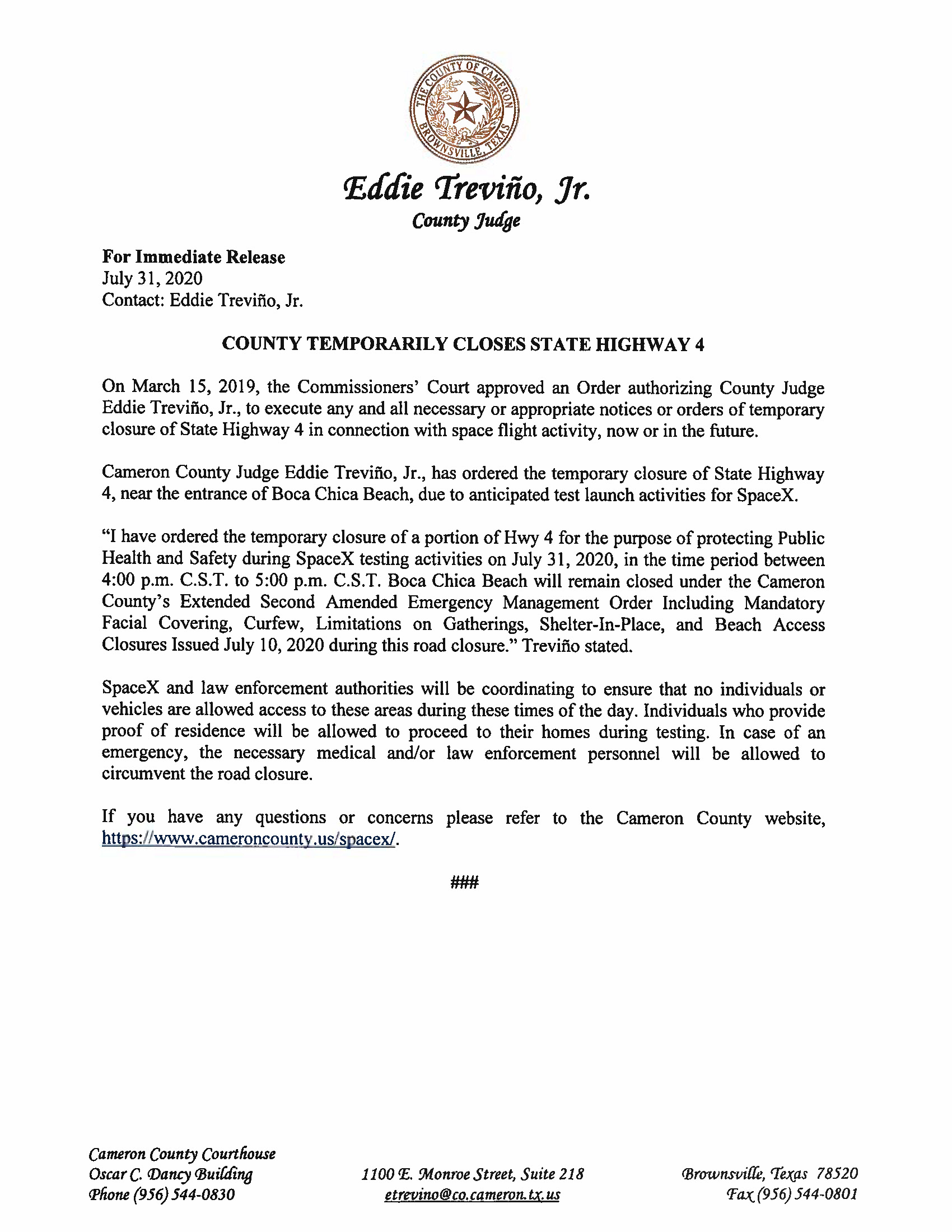 PRESS RELEASE IN ENGLISH AND SPANISH.07.31.20 Page 1 1