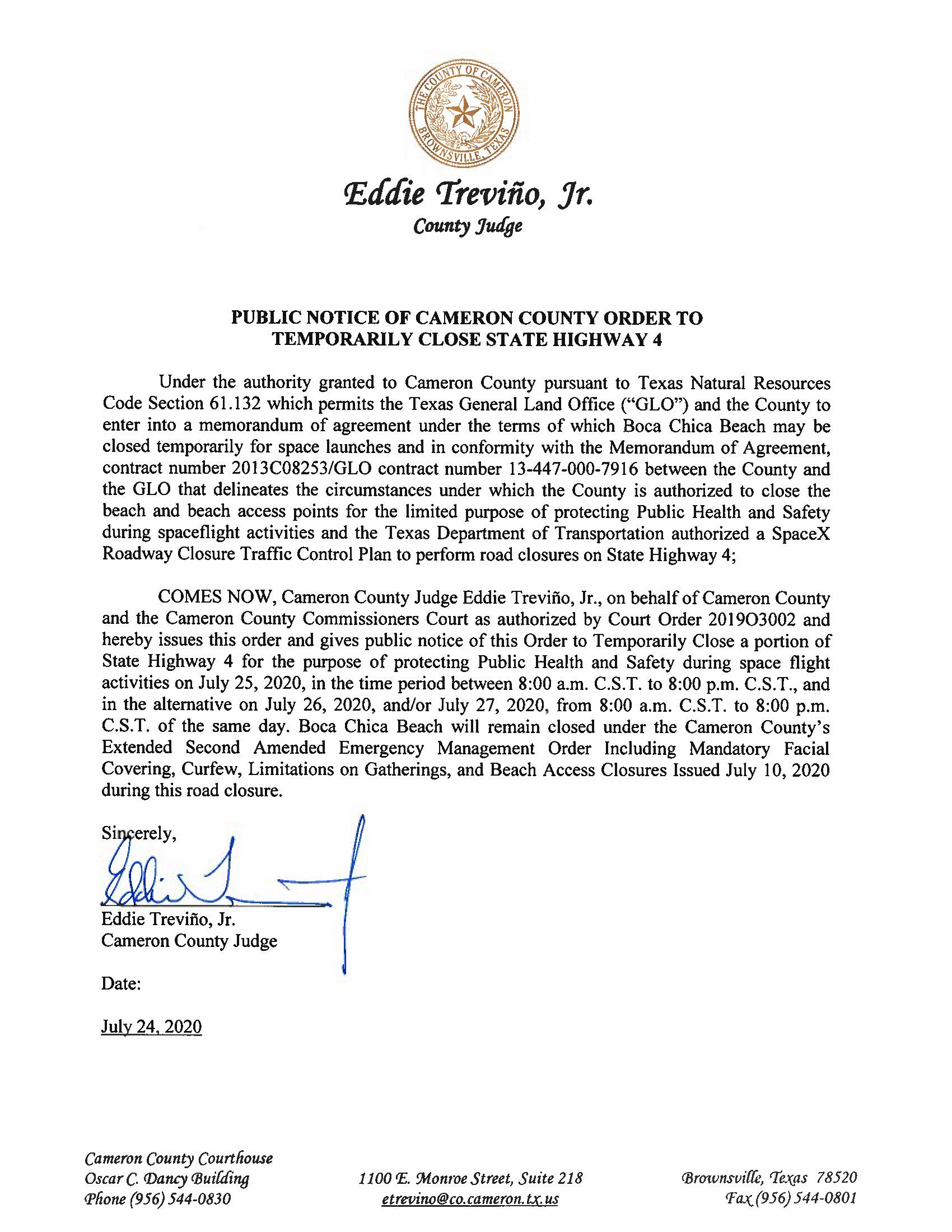 PUBLIC NOTICE OF CAMERON COUNTY ORDER TO TEMP. ROAD CLOSURE. 07.25.20 Page 1