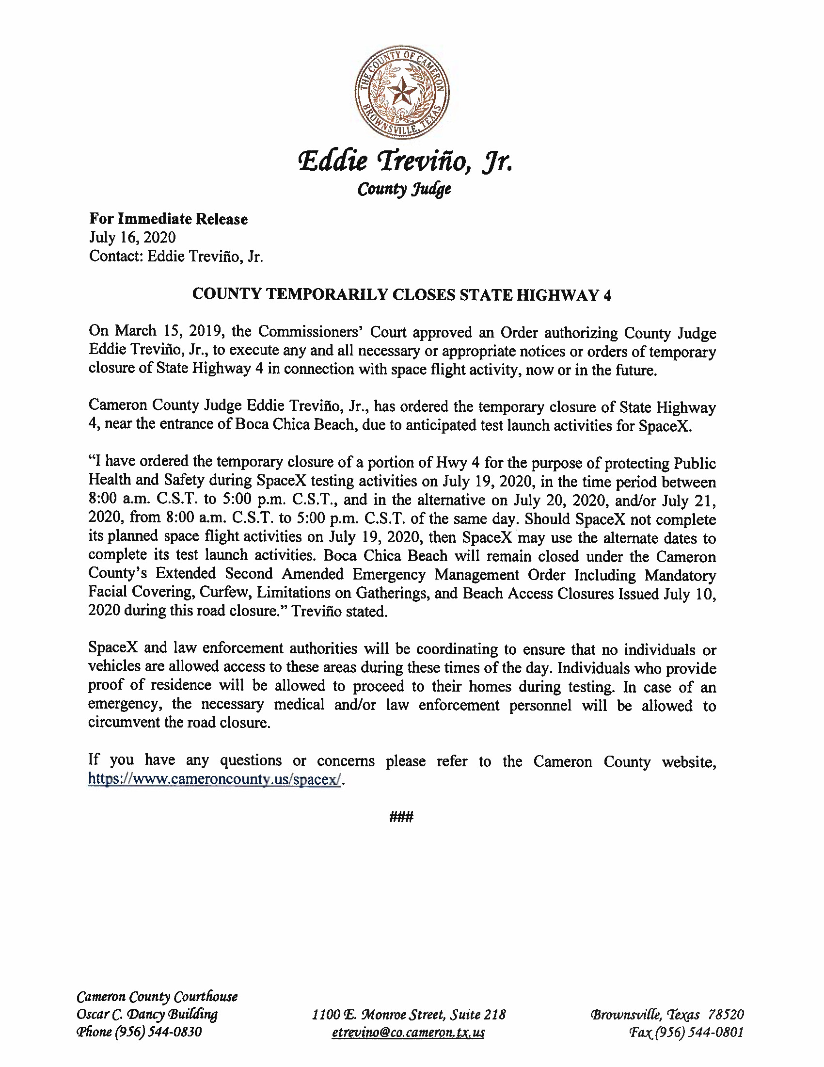 Press Release On Order Of Closure Related To SpaceX Flight.ROAD CLOSURE. English Spanish 07.19.2020.doc Page 1