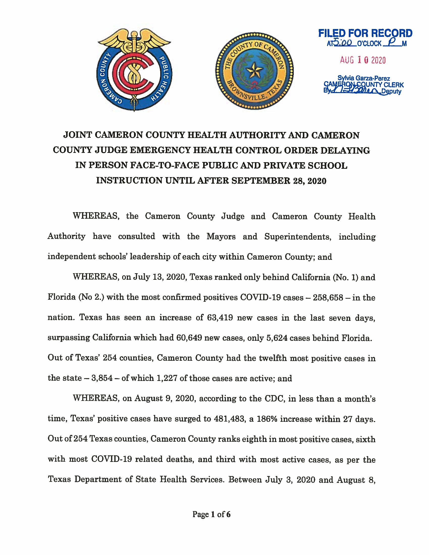 08.10.2020 ORDER Joint Cameron County Health Authority And Cameron County Judge Emergency Health Control Order Page 1