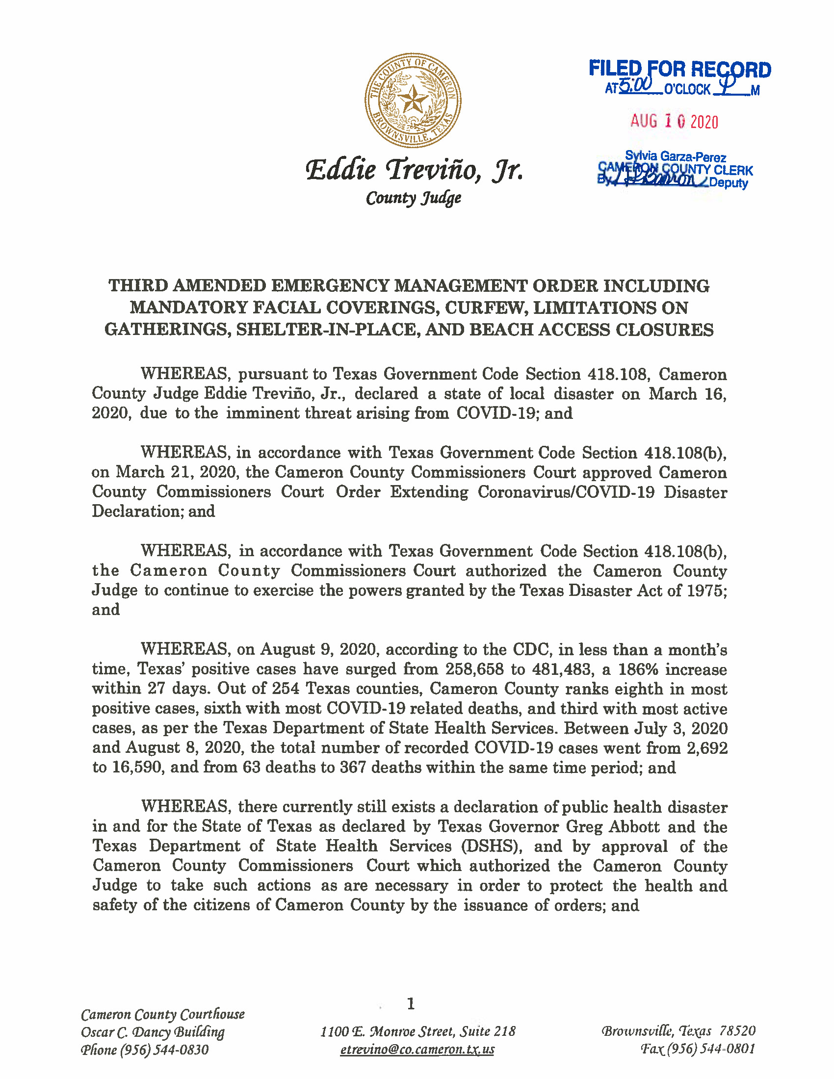 08.10.2020 ORDER Third Amended Emergency Management Order Page 01