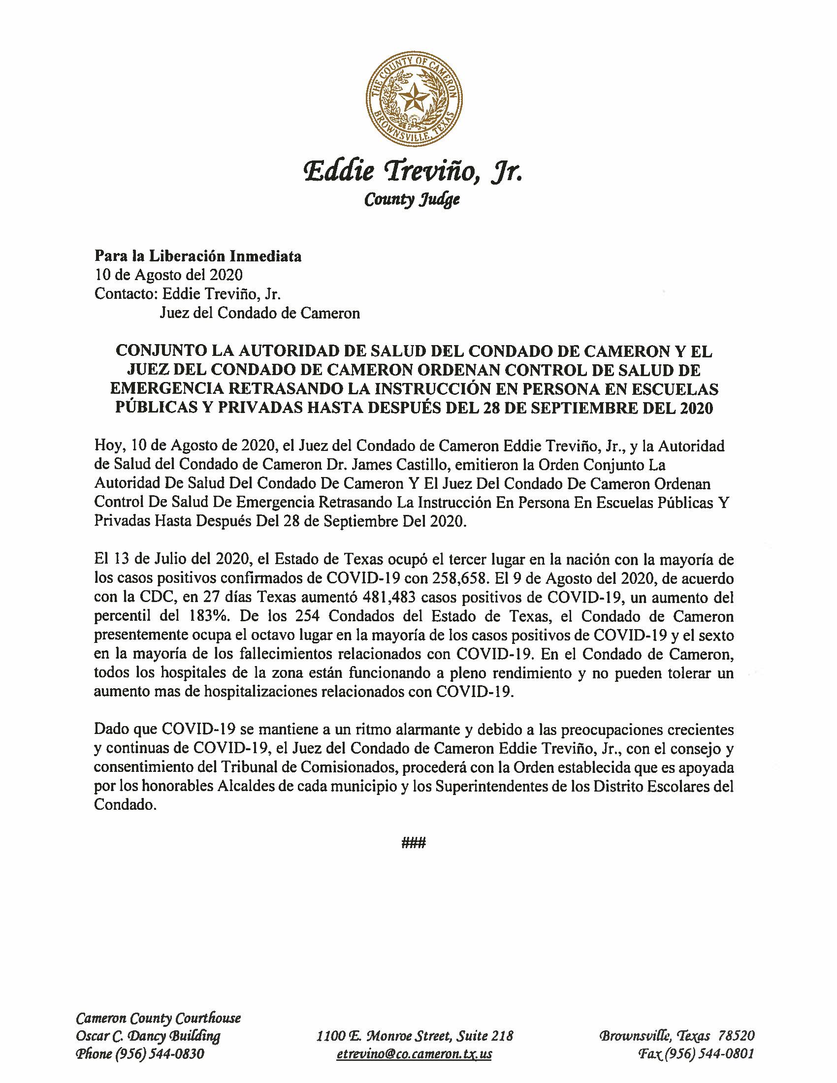 08.10.2020 Orden Conjunto La Autoridad De Salud Y El Juez Del Condado De Cameron