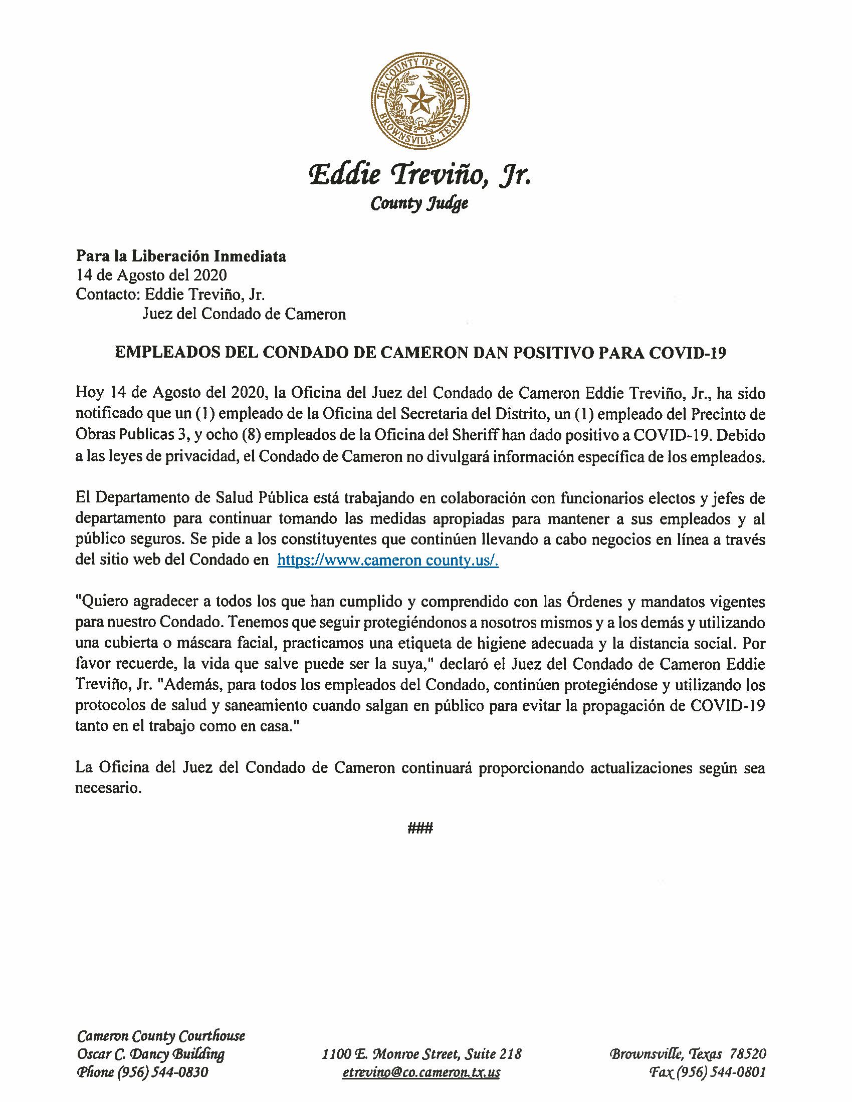 08.14.2020 Empleados Del Condado De Cameron Dan Positivo Para COVID 19