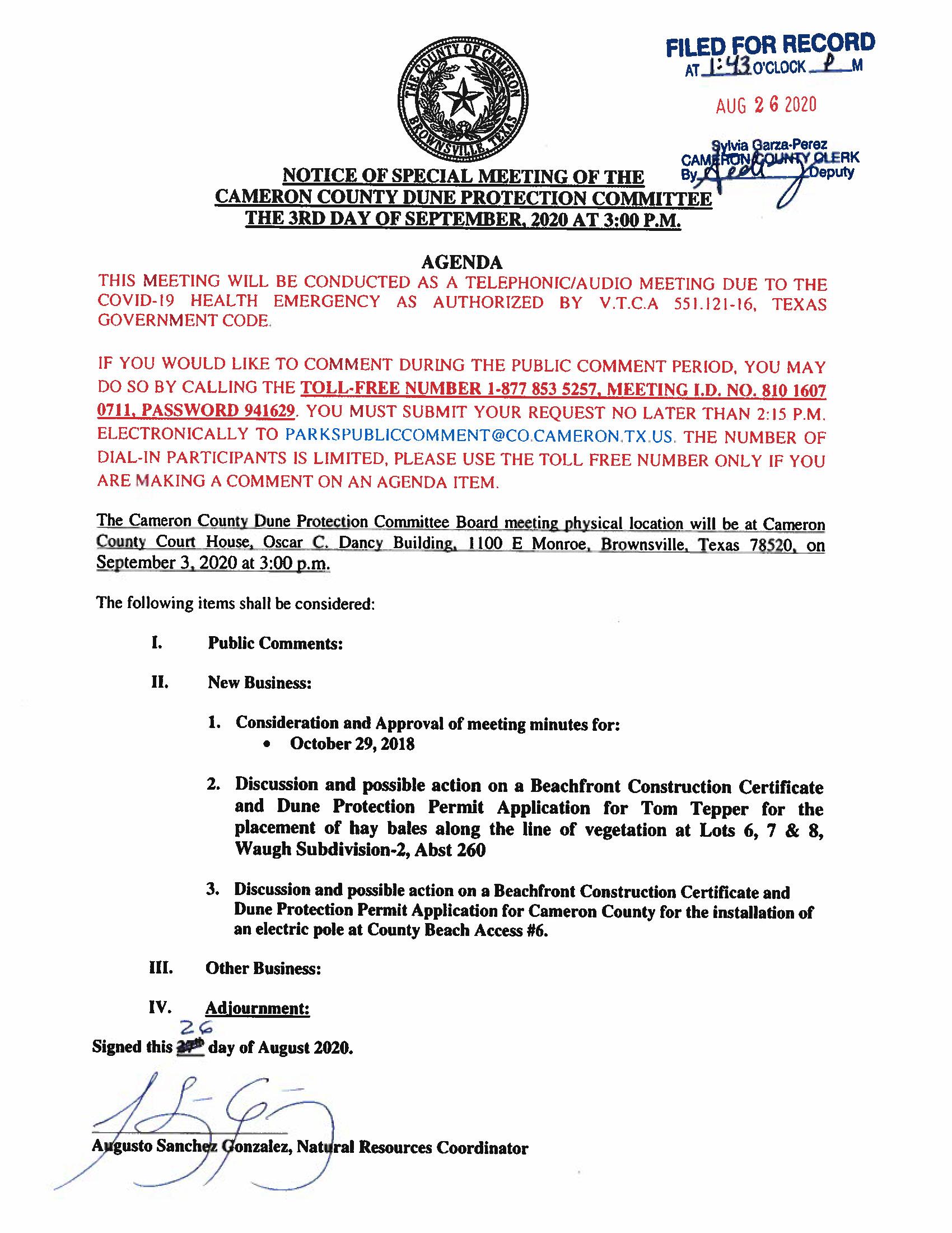 Agenda Draft Dune Protection Committee September 3 2020 Vf