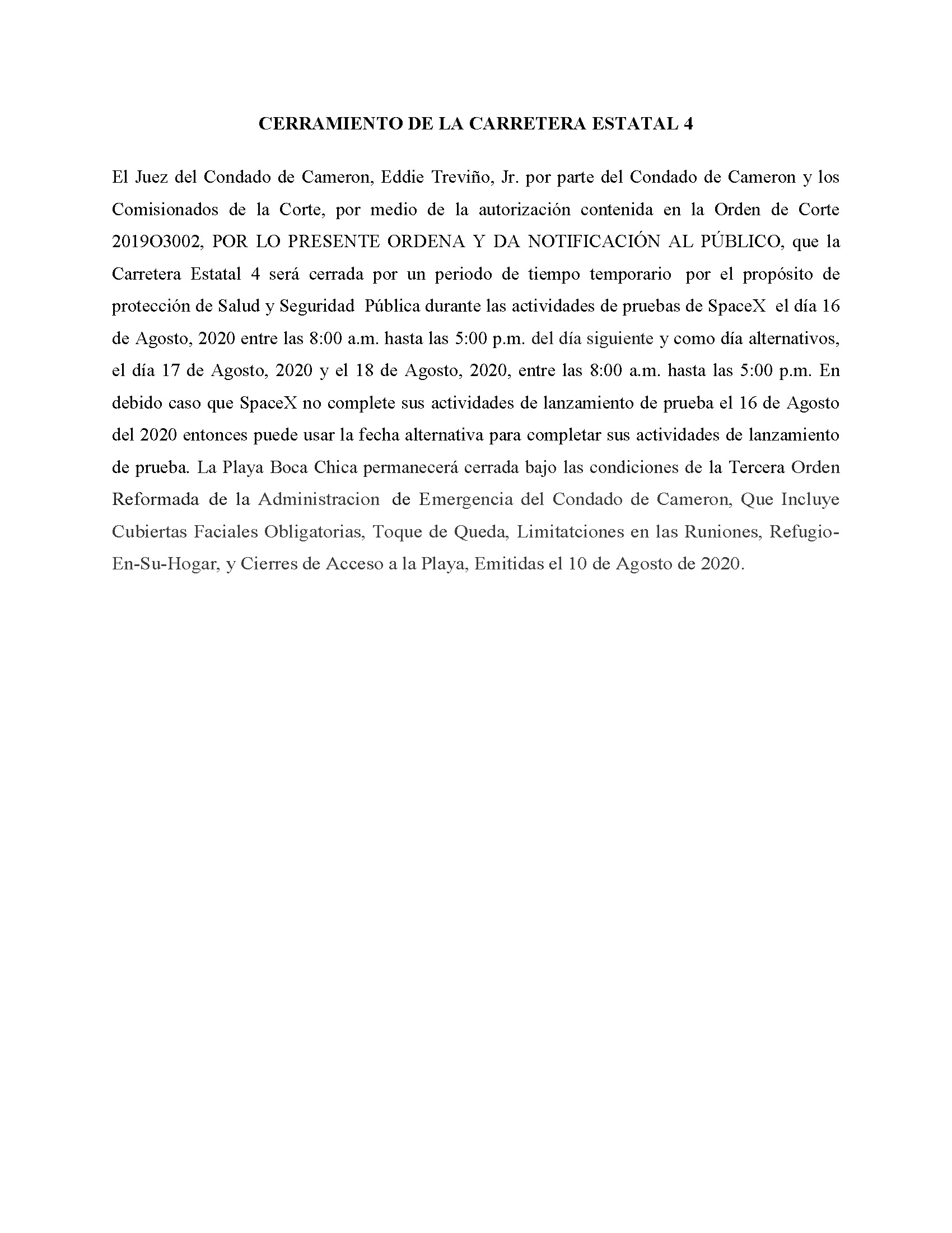 ORDER.CLOSURE OF HIGHWAY 4.SPANISH.08.16.20
