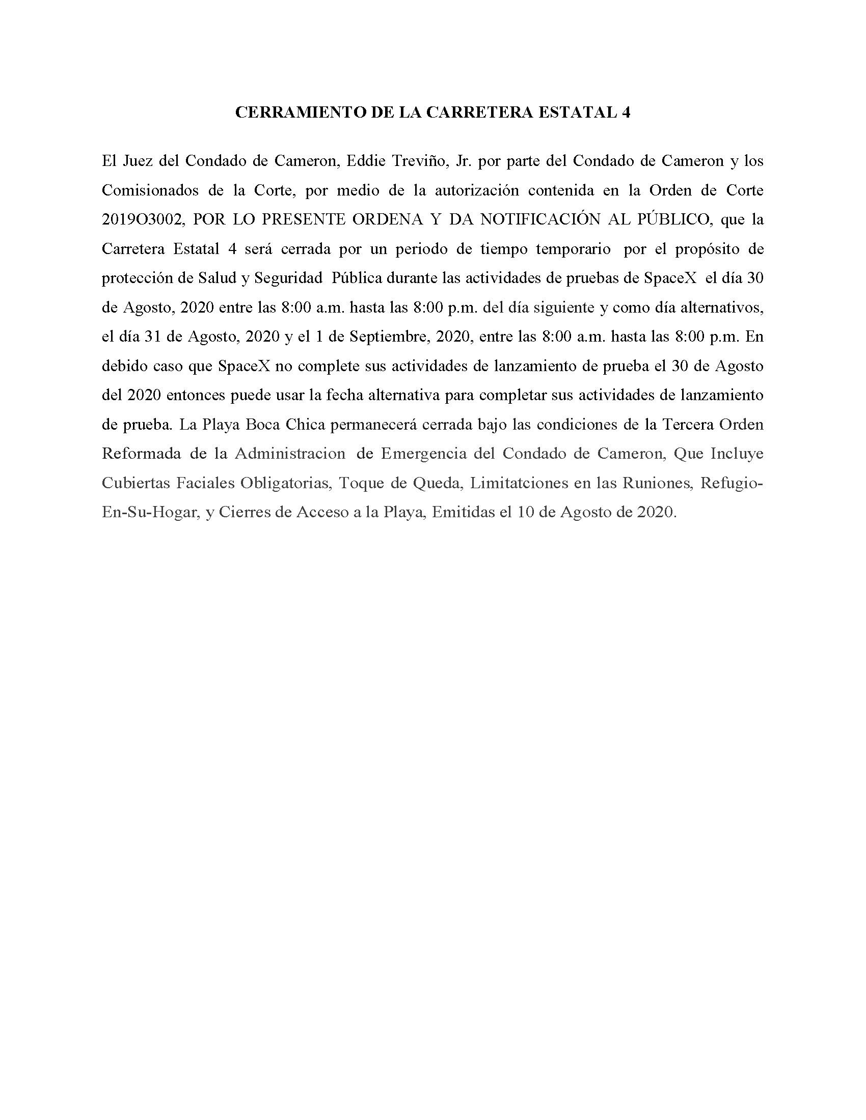 ORDER.CLOSURE OF HIGHWAY 4.SPANISH.08.30.20