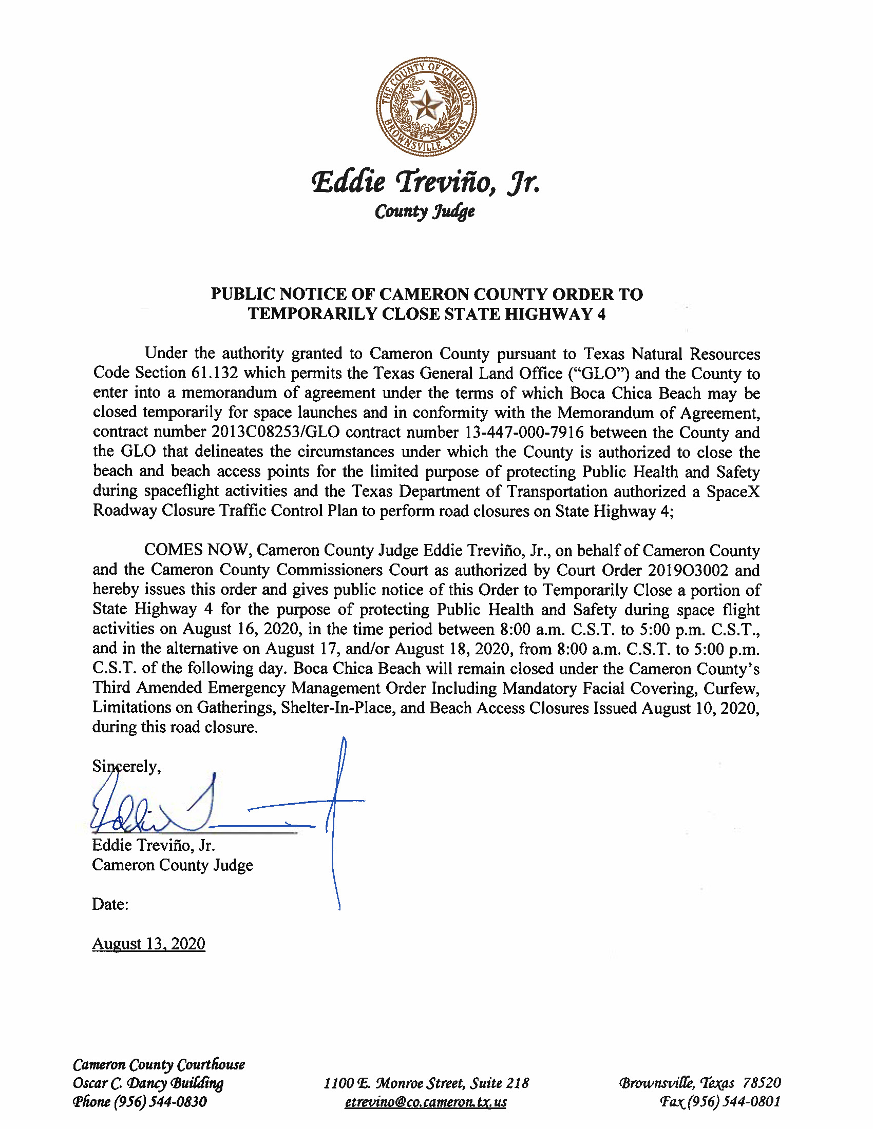 PUBLIC NOTICE OF CAMERON COUNTY ORDER TO TEMP. ROAD CLOSURE. 08.16.20.docx Page 1