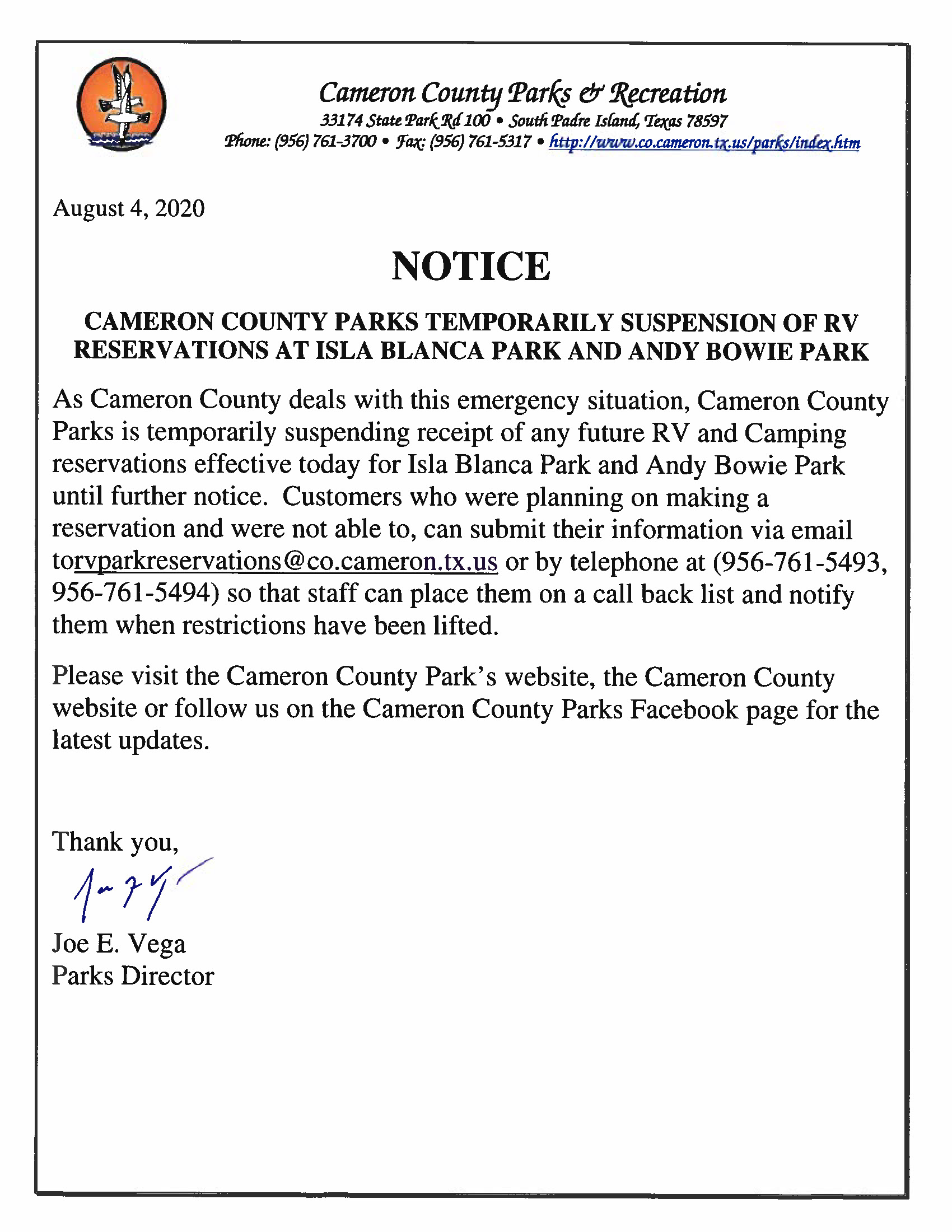 Temporarily Suspension Of RV Sites Isla Blanca Park And Andy Bowie Park 8 4 20