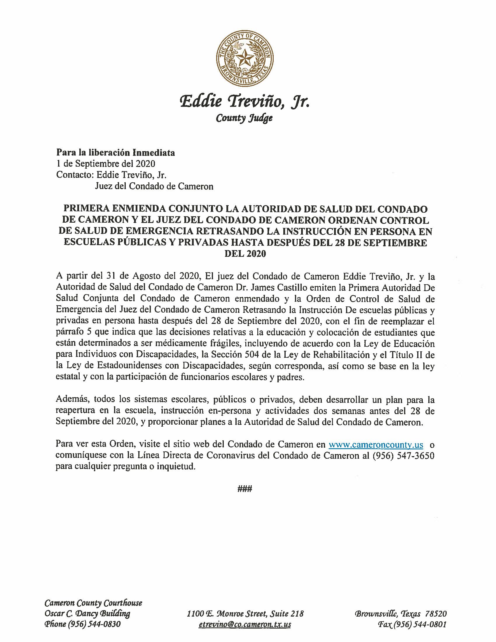08.31.2020 Para La Liberacion Inmediata Primera Enmienda Conjunto La Autoridad De Salud Del Condado Y El Juez De Condado