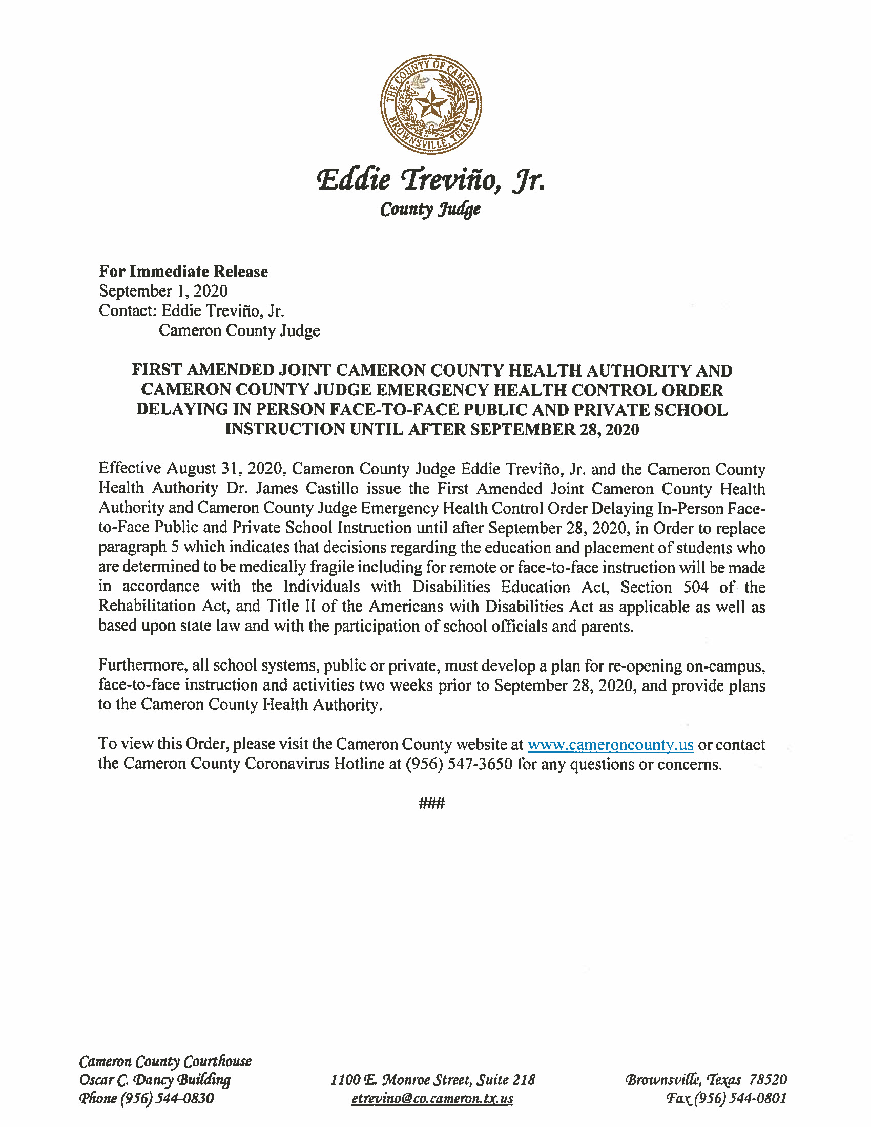 08.31.2020 Press Release First Amended Joint Cameron County Health Authority And Cameron County Judge EM Order