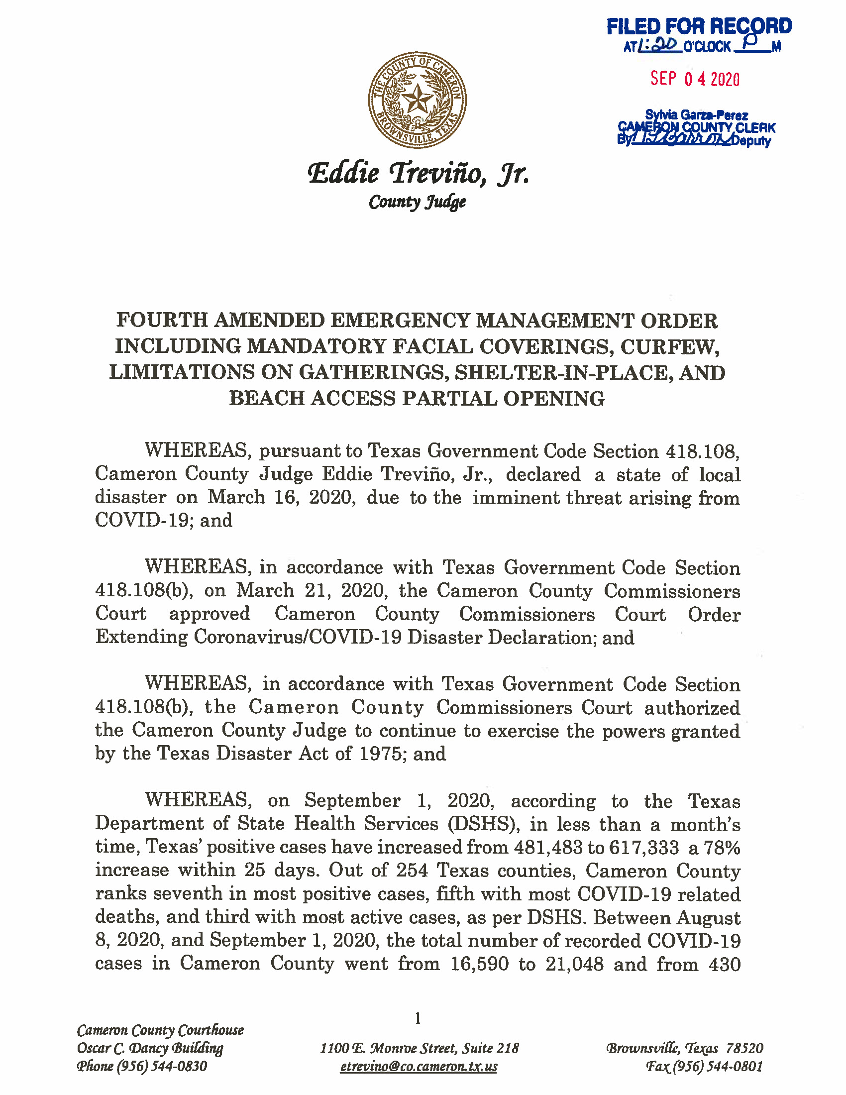 09.04.2020 ORDER Fourth Amended Emergency Management Order Page 01