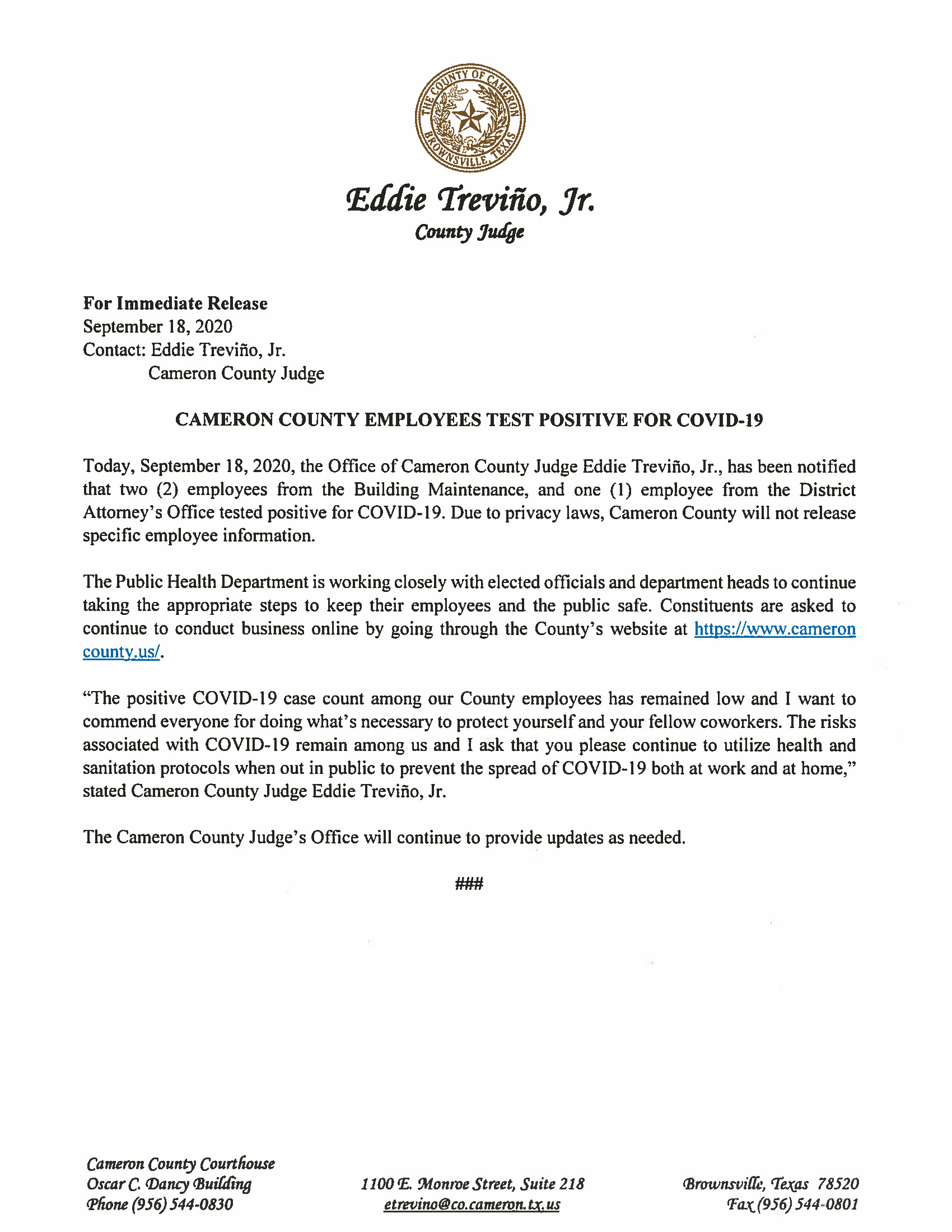 09.18.2020 Cameron County Employees Test Positive For COVID 19