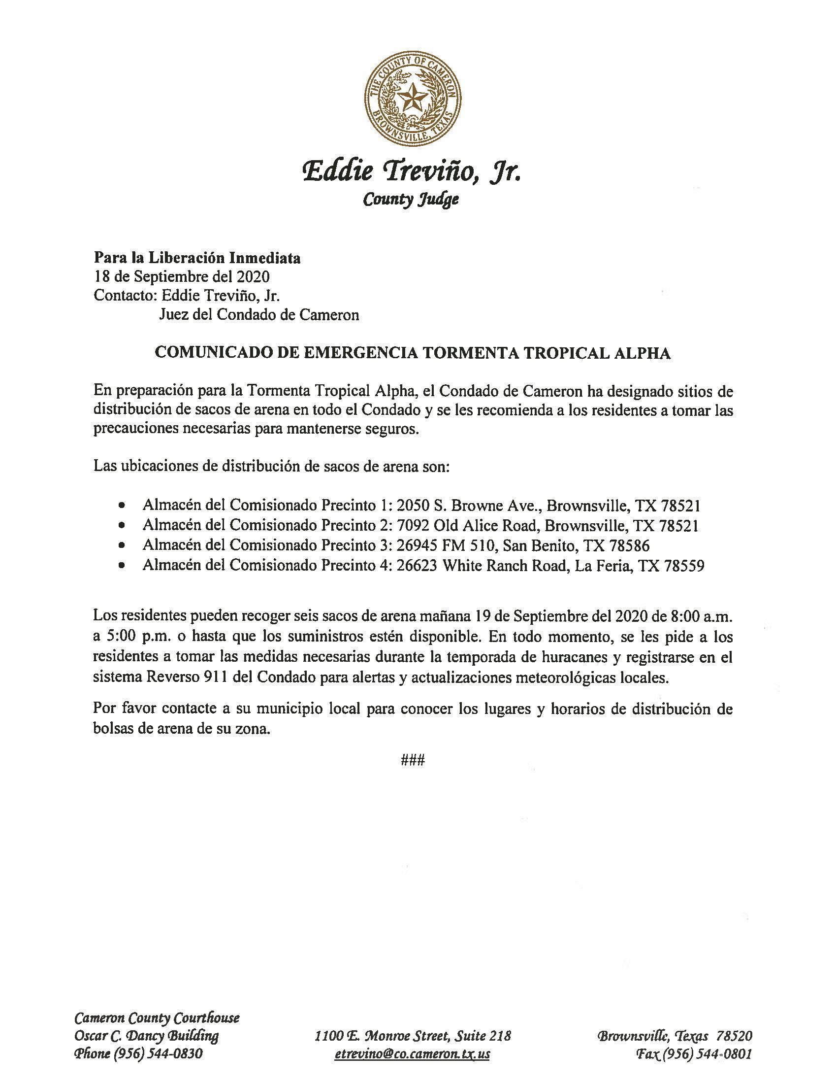 09.18.2020 Comunicado De Emergencia Tormenta Tropical Alpha