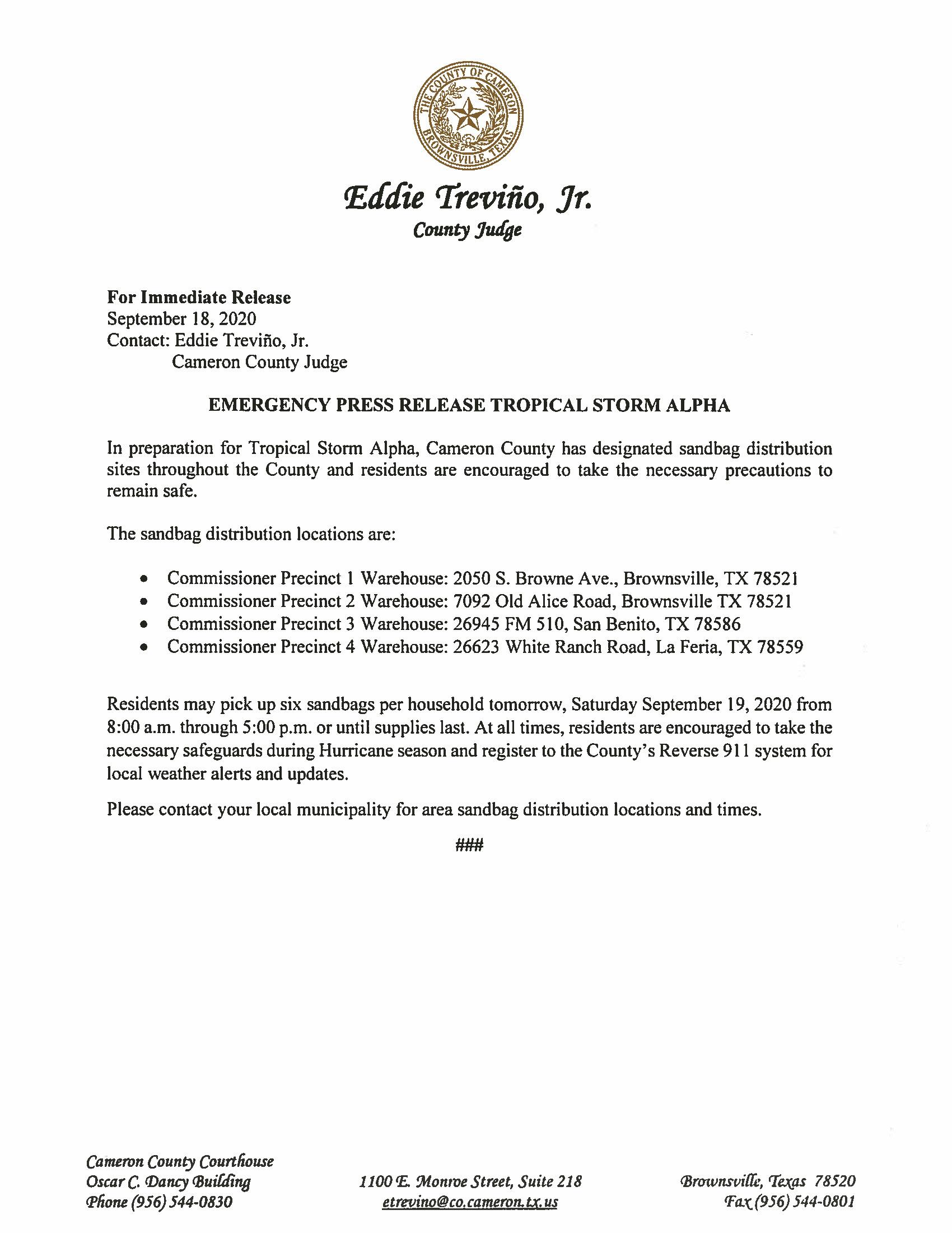 09.18.2020 Emergency Management Press Release Tropical Storm Alpha