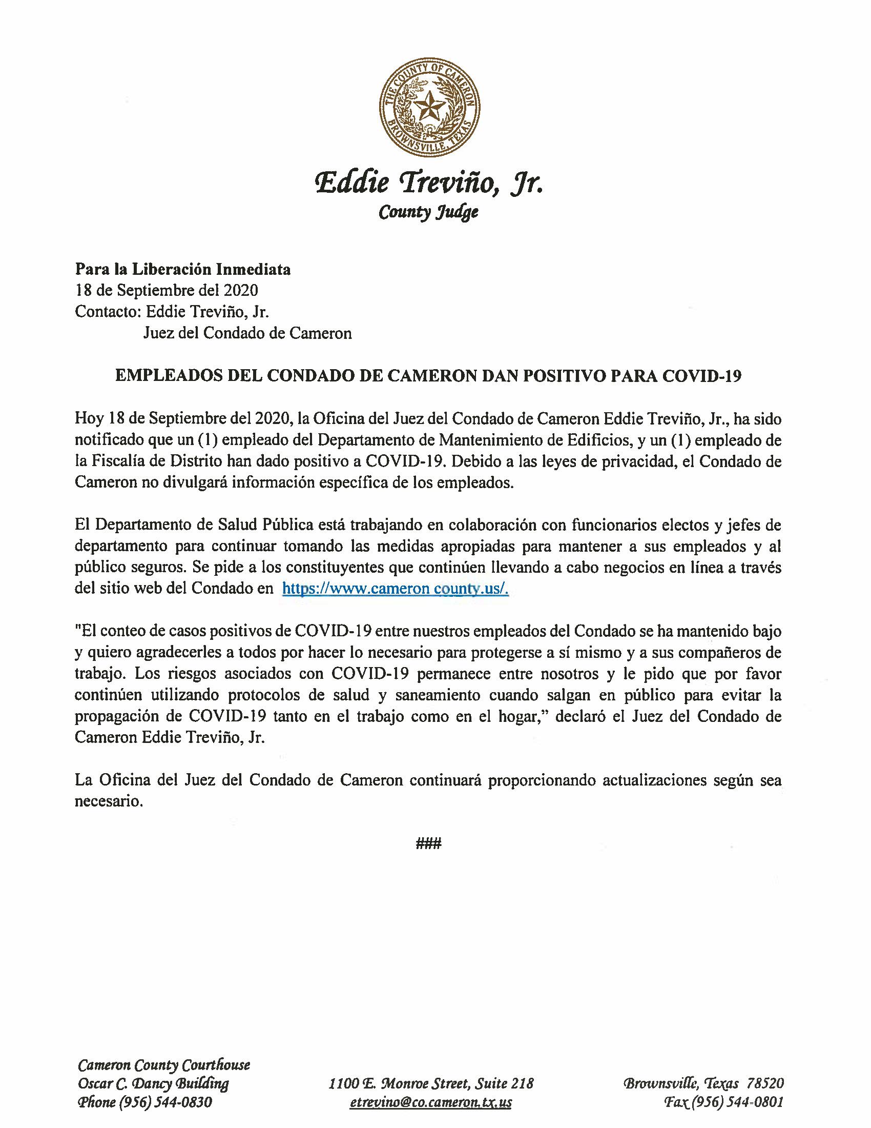 09.18.2020 Empleados Del Condado De Cameron Dan Positivo Para COVID 19