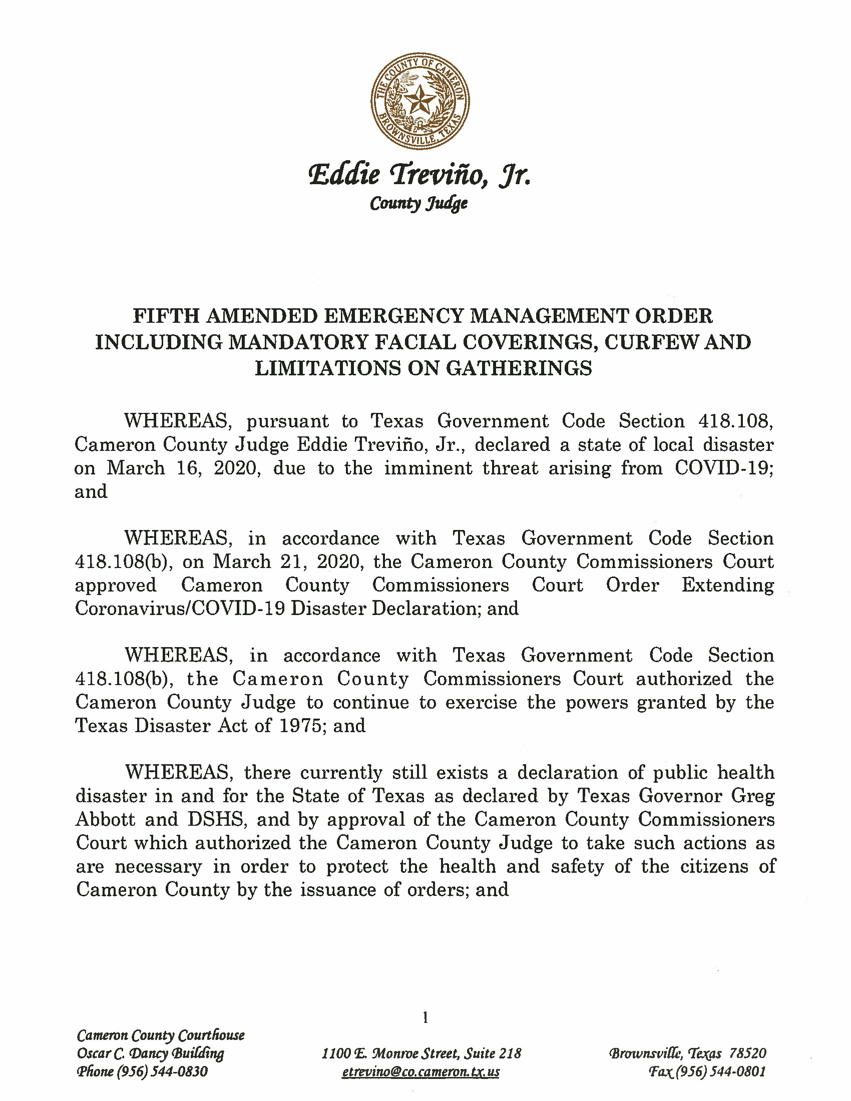 09.18.2020 Fifth Amended Emergency Management Order Including Mandatory Facial Coverings Curfew And Limitations On Gatherings Page 1